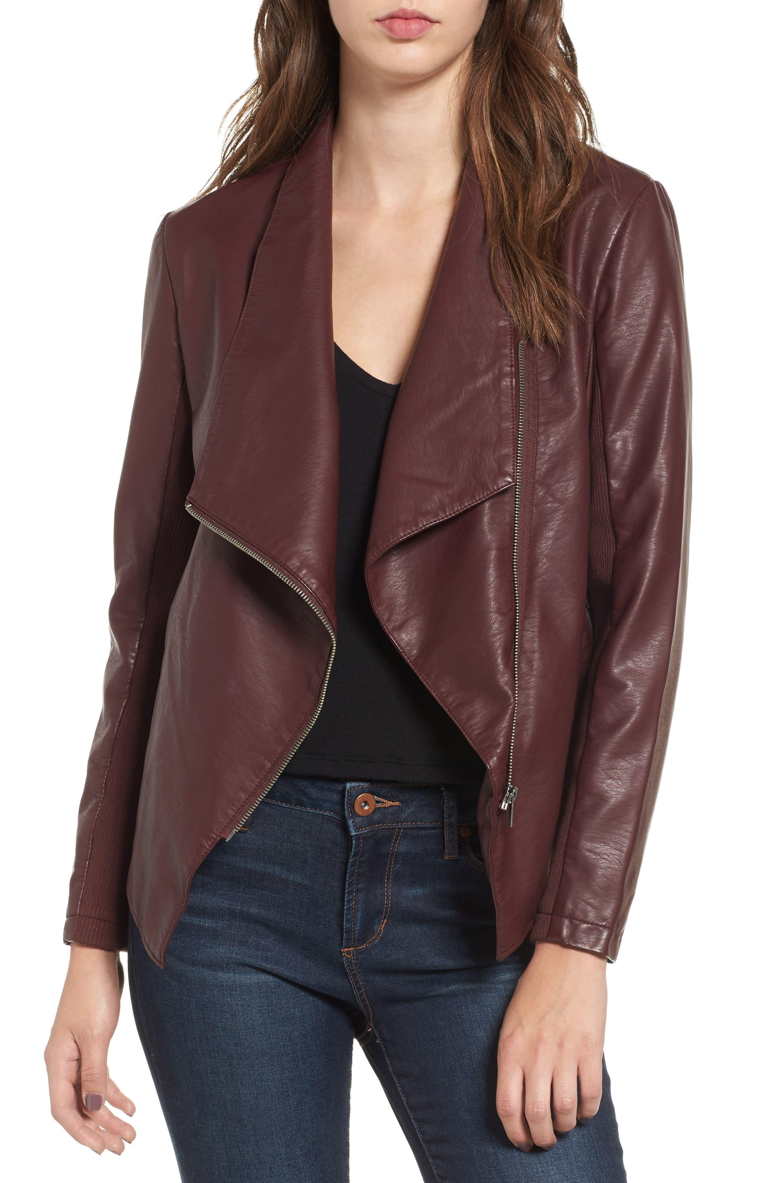 Alternate Image 1 Selected - BB Dakota Gabrielle Faux Leather Asymmetrical Jacket