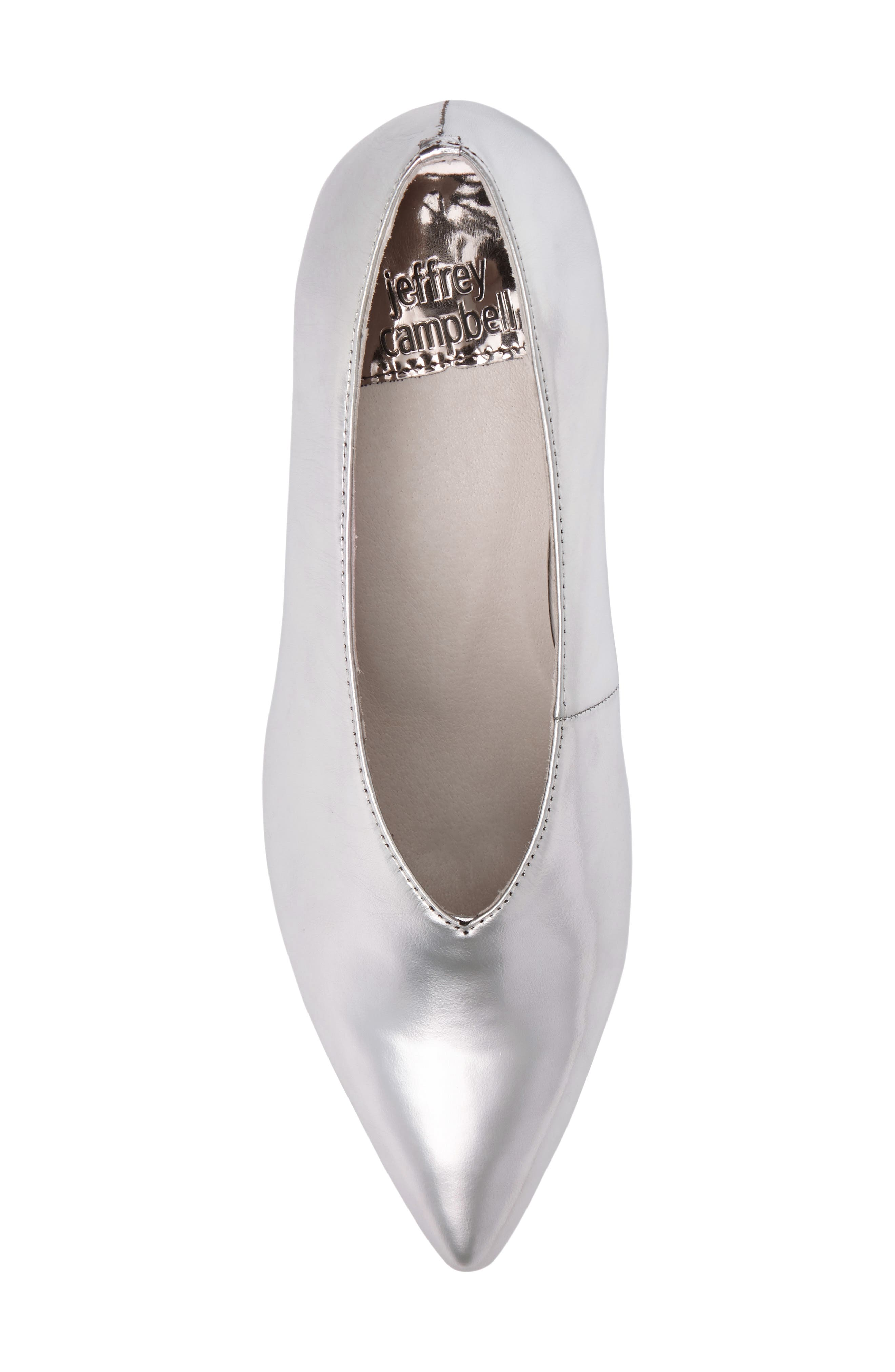 'Carla' Pointy Toe Pump,                             Alternate thumbnail 5, color,                             Silver Crinkle Metallic