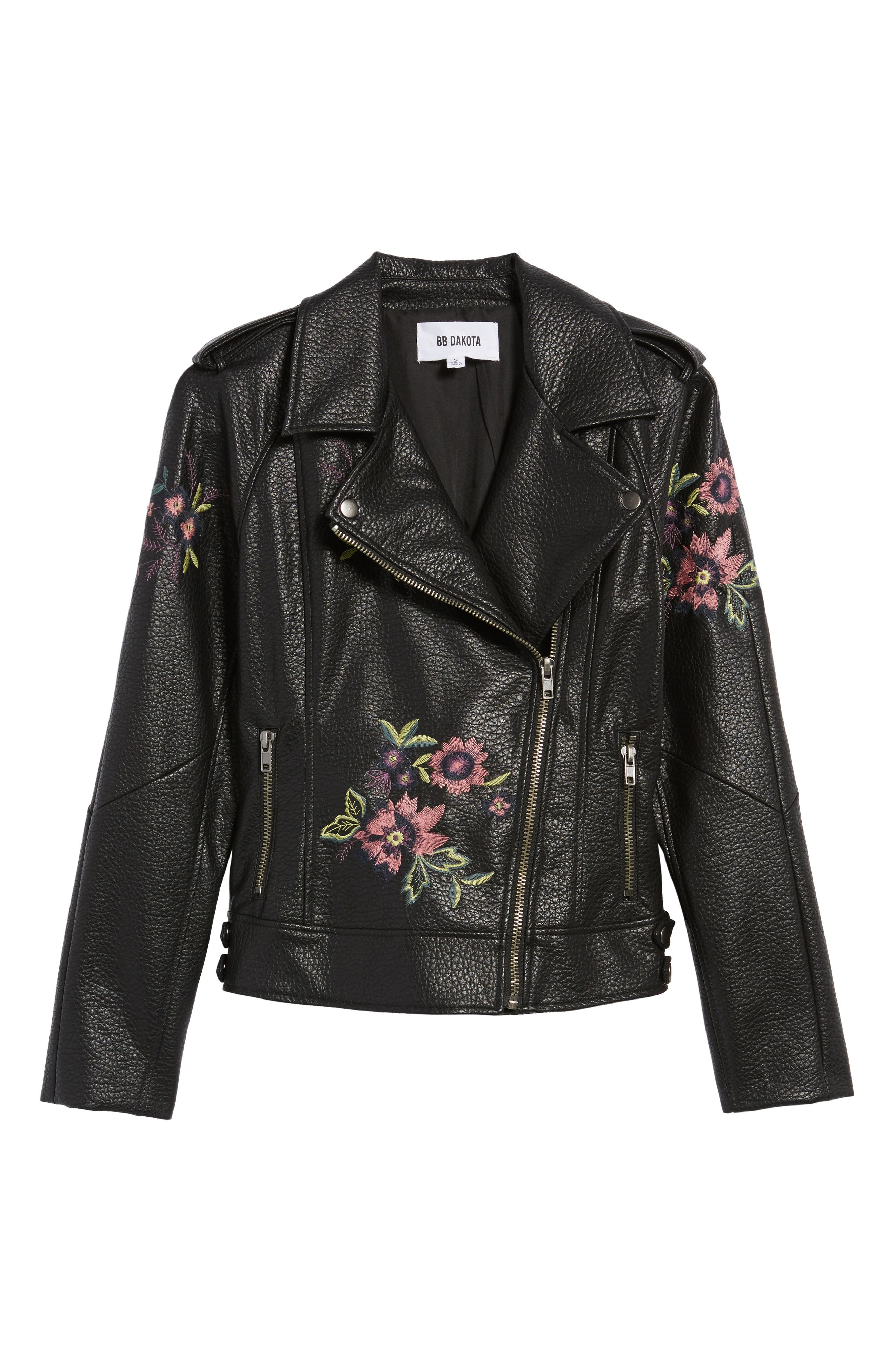 Baxley Embroidered Faux Leather Moto Jacket,                             Alternate thumbnail 6, color,                             Black