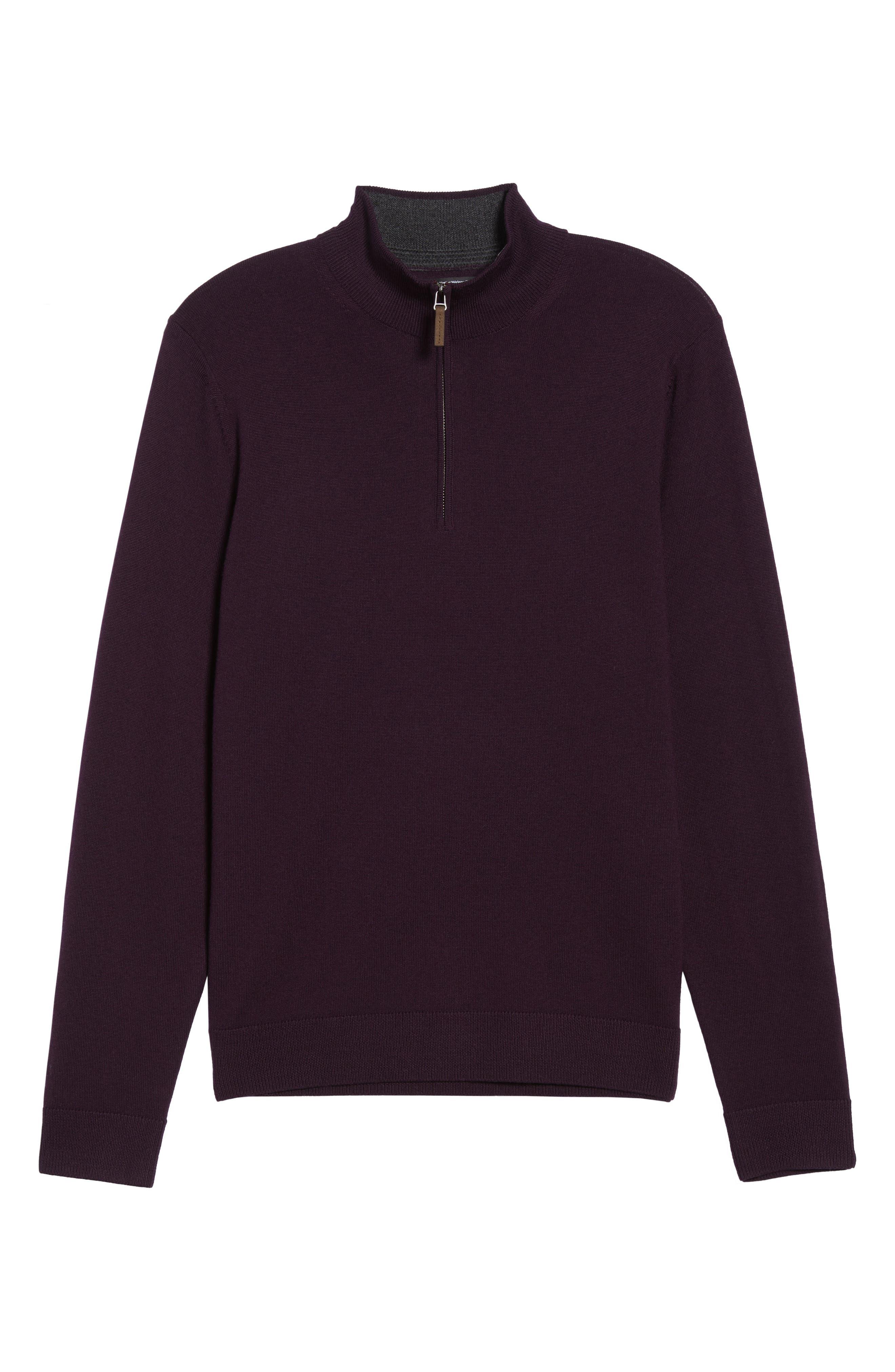 Quarter Zip Wool Pullover,                             Alternate thumbnail 6, color,                             Purple Plum