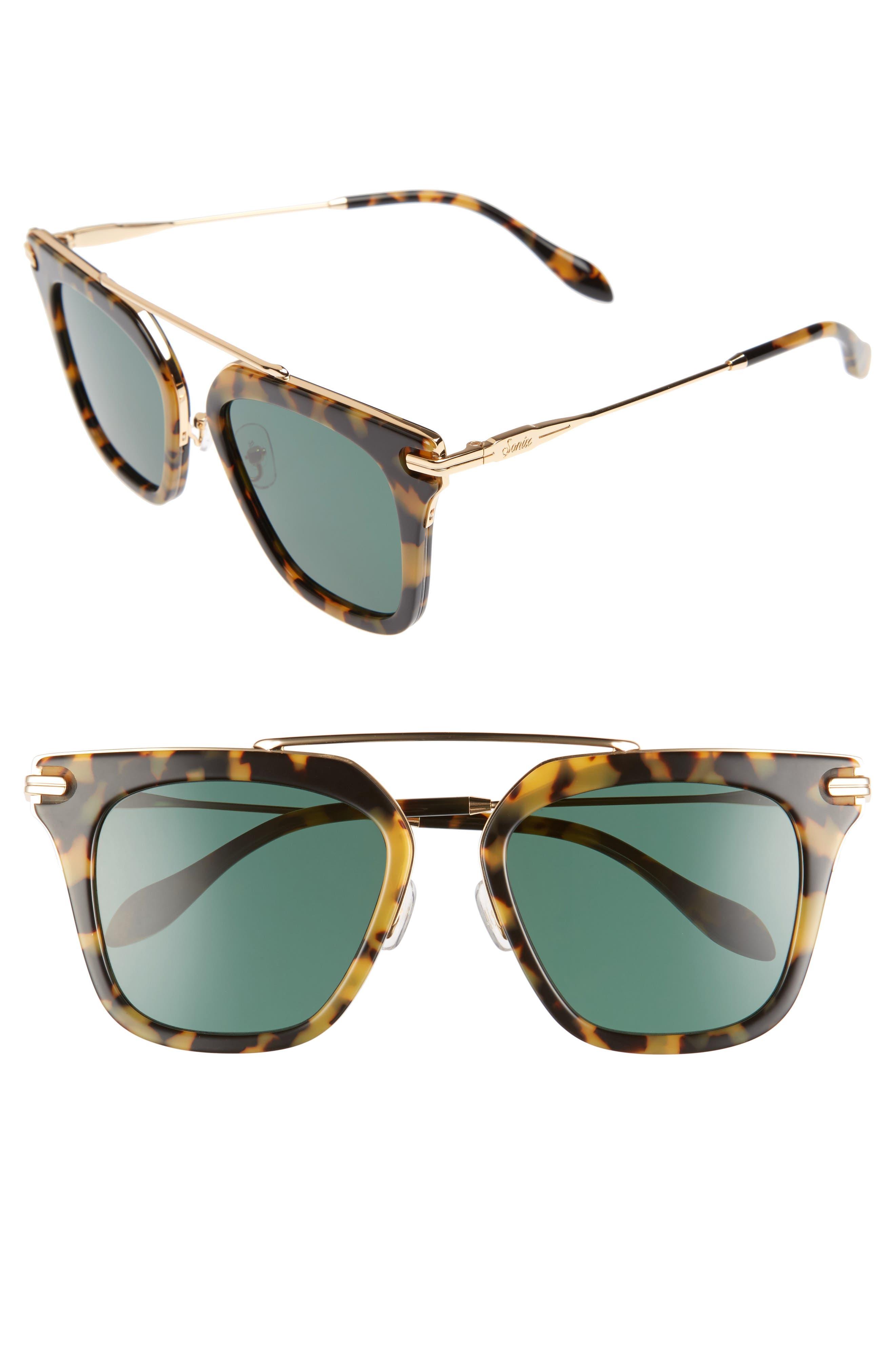 Parker 50mm Sunglasses,                         Main,                         color, Caramel Tortoise/ Green Solid