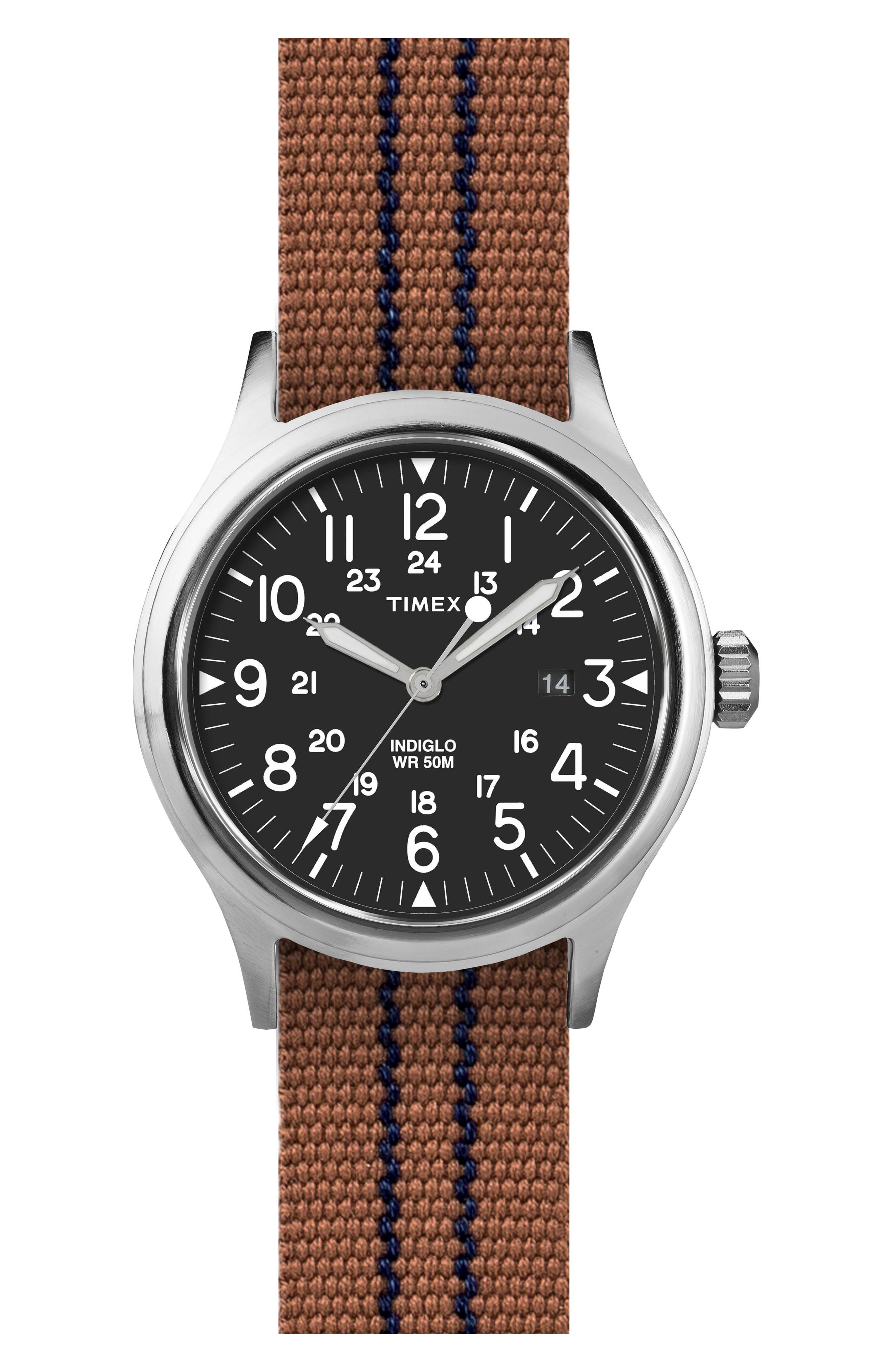 Scout Brook Stripe Strap Watch, 40mm,                             Main thumbnail 1, color,                             Black/ Tobacco/ Navy Stripe