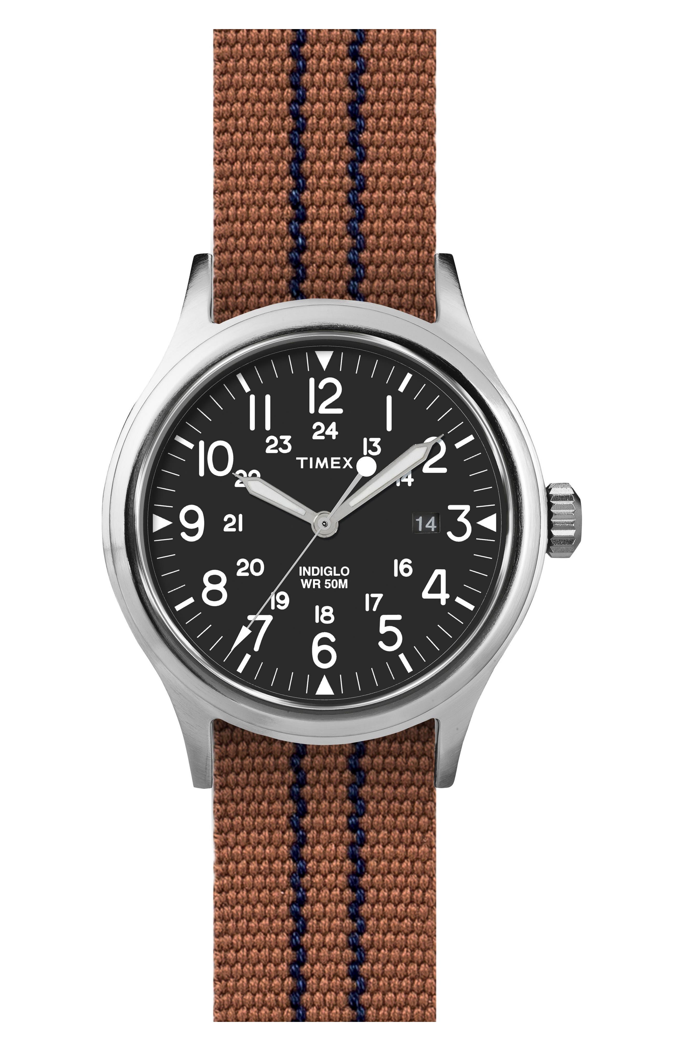 Scout Brook Stripe Strap Watch, 40mm,                         Main,                         color, Black/ Tobacco/ Navy Stripe