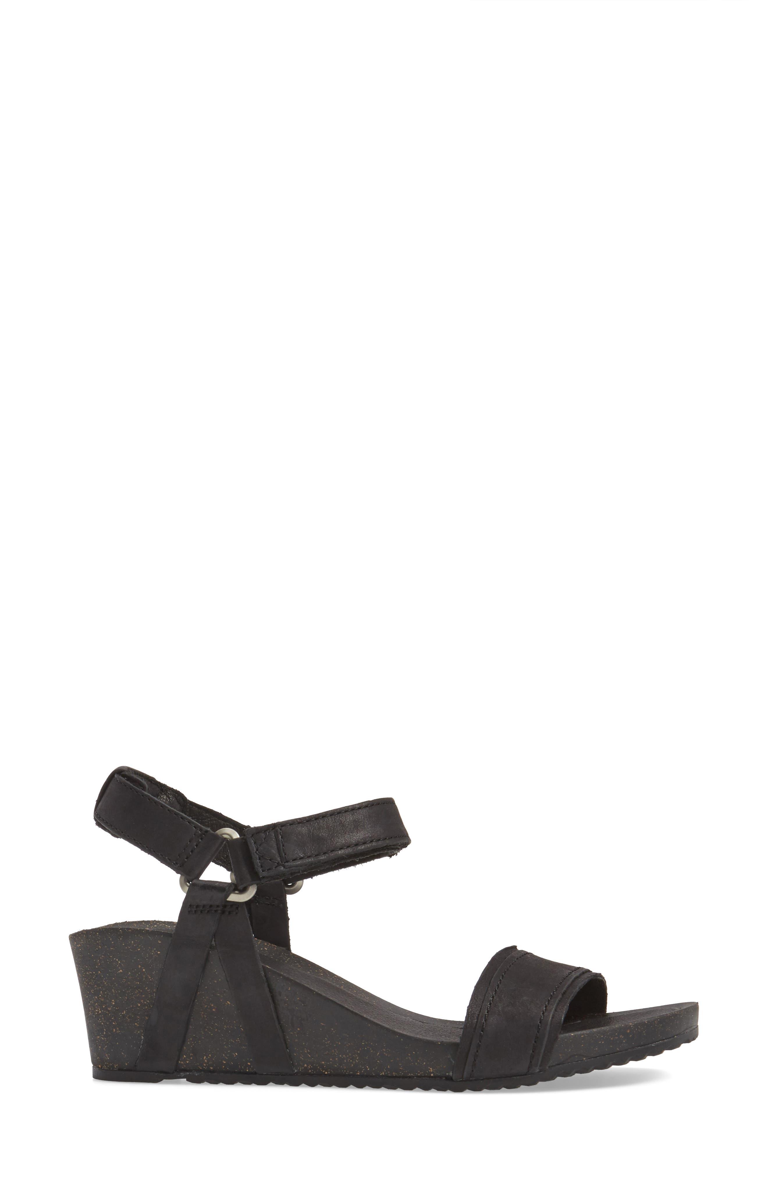 Ysidro Stitch Wedge Sandal,                             Alternate thumbnail 3, color,                             Black Leather