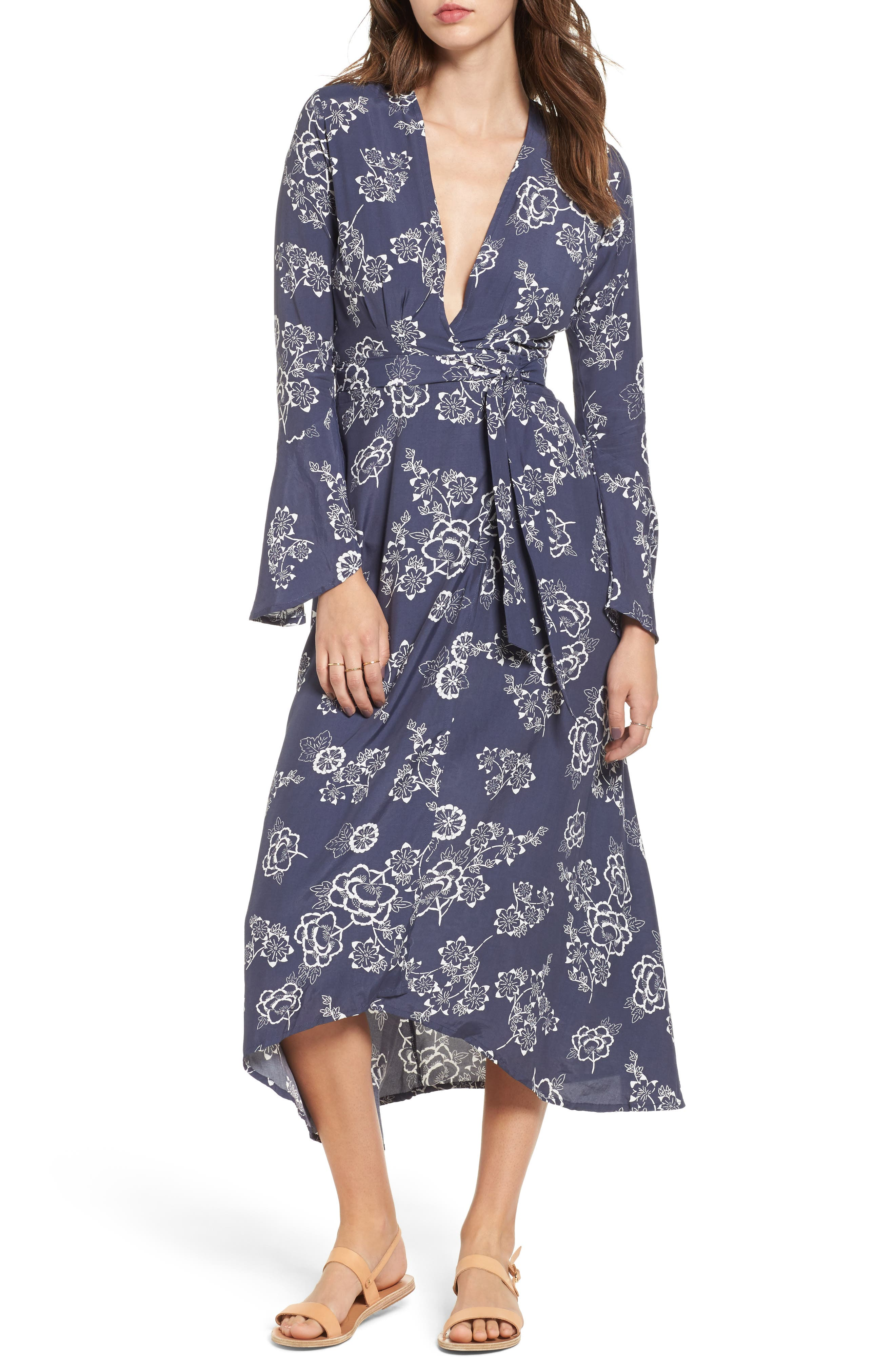 FAITHFULL THE BRAND Floral Print Wrap Midi Dress