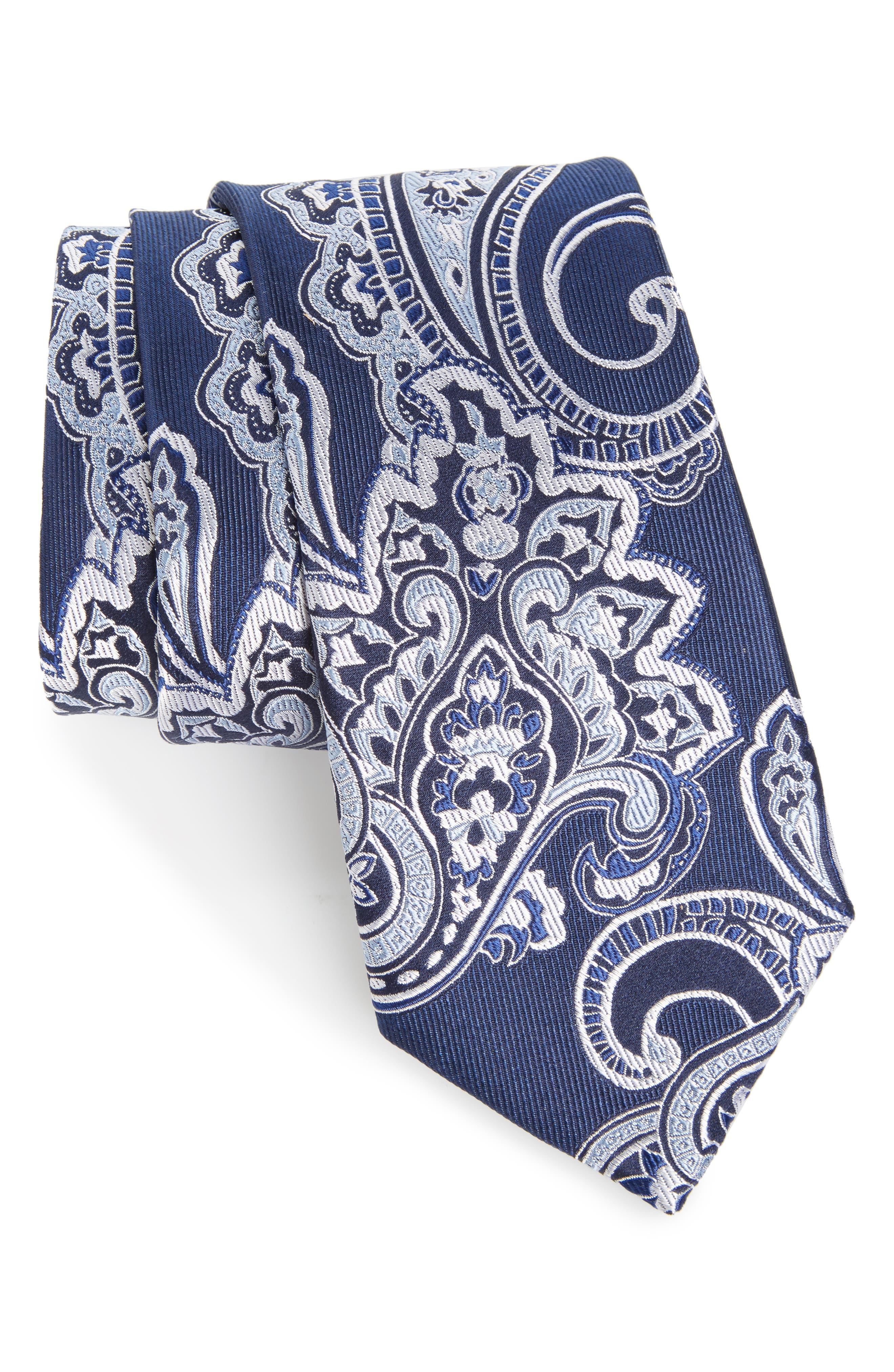 Paisley Silk Tie,                         Main,                         color, Navy