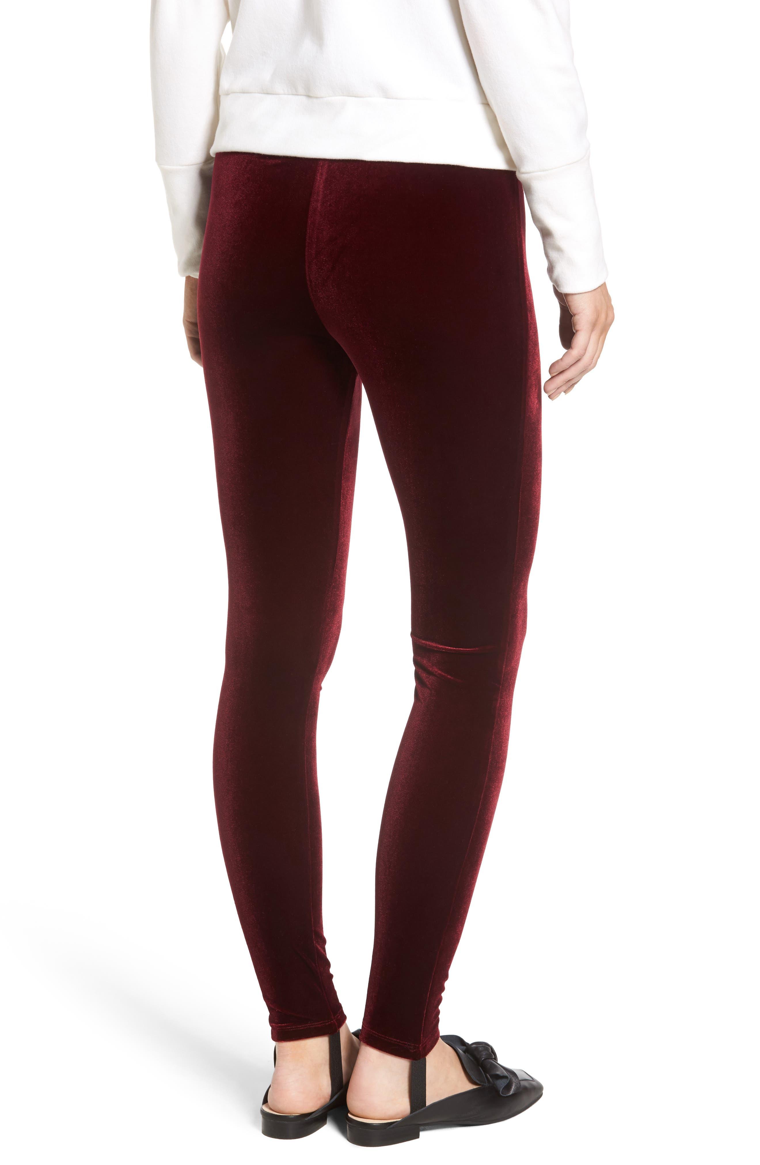 High Waist Velour Stirrup Pants,                             Alternate thumbnail 2, color,                             Red Tannin