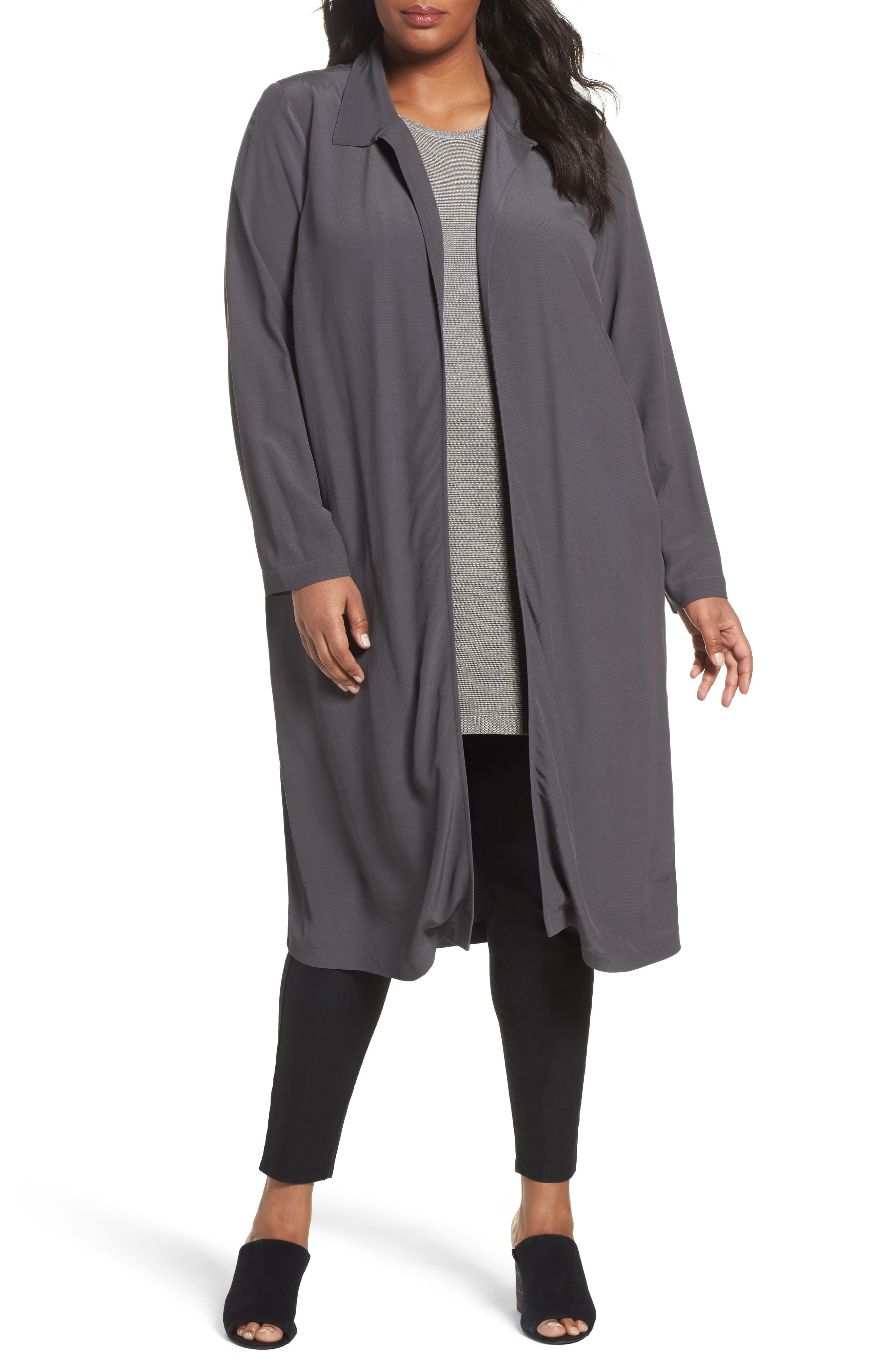 Eileen Fisher Open Front Duster Jacket (Plus Size)