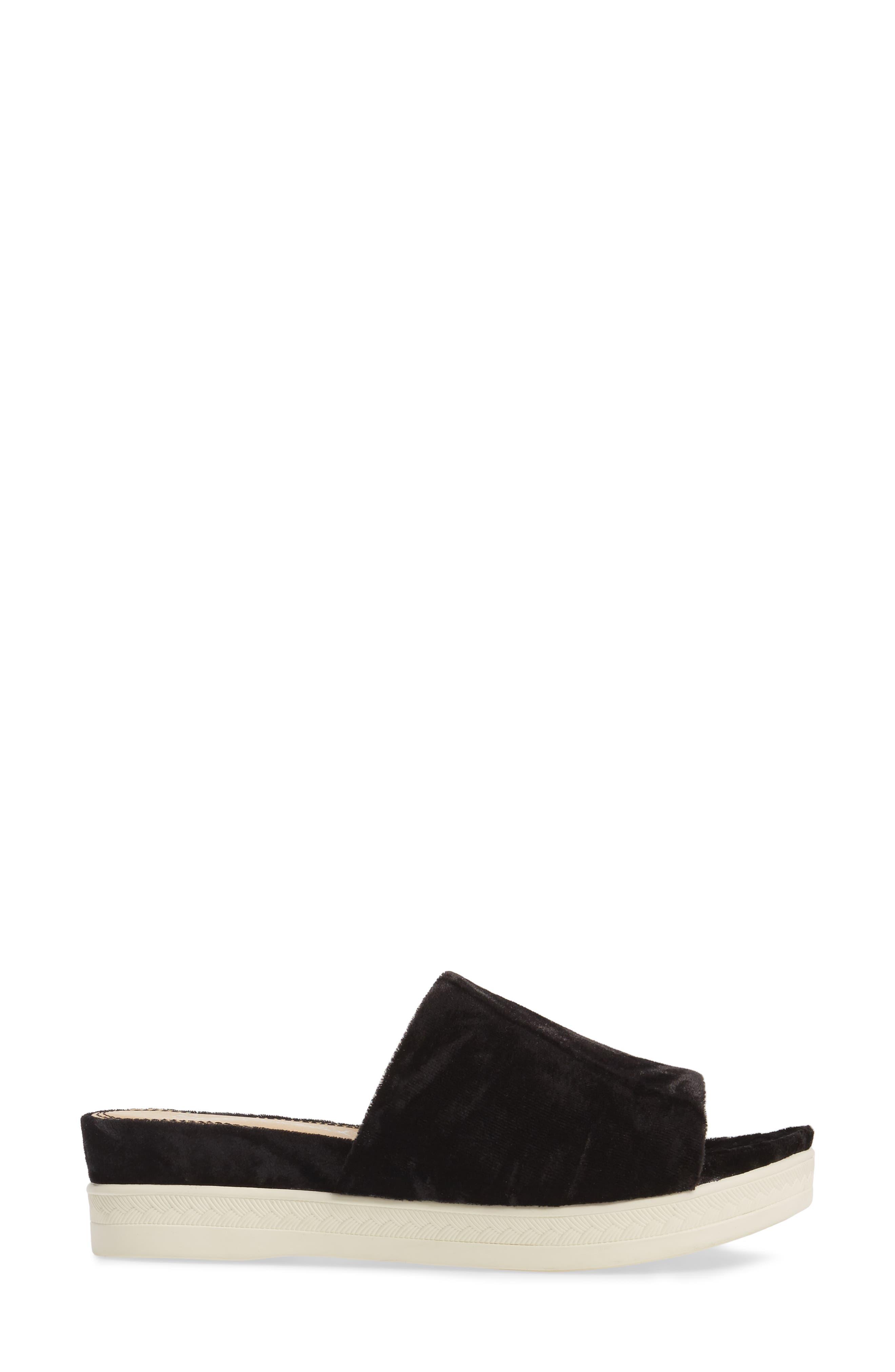 Darla Slide Sandal,                             Alternate thumbnail 3, color,                             Black Velvet Fabric