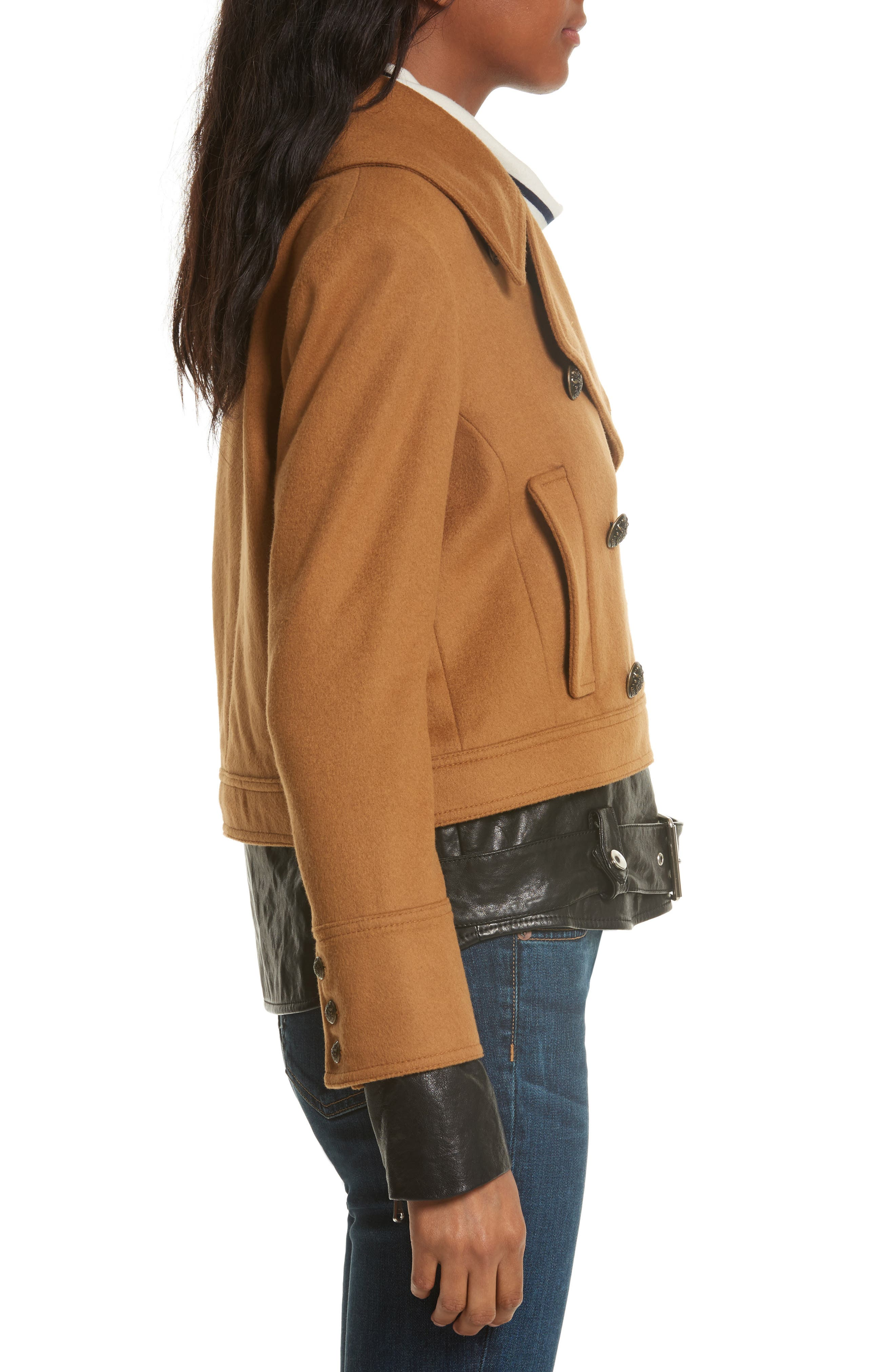 Yara Leather Hem Peacoat,                             Alternate thumbnail 4, color,                             Camel