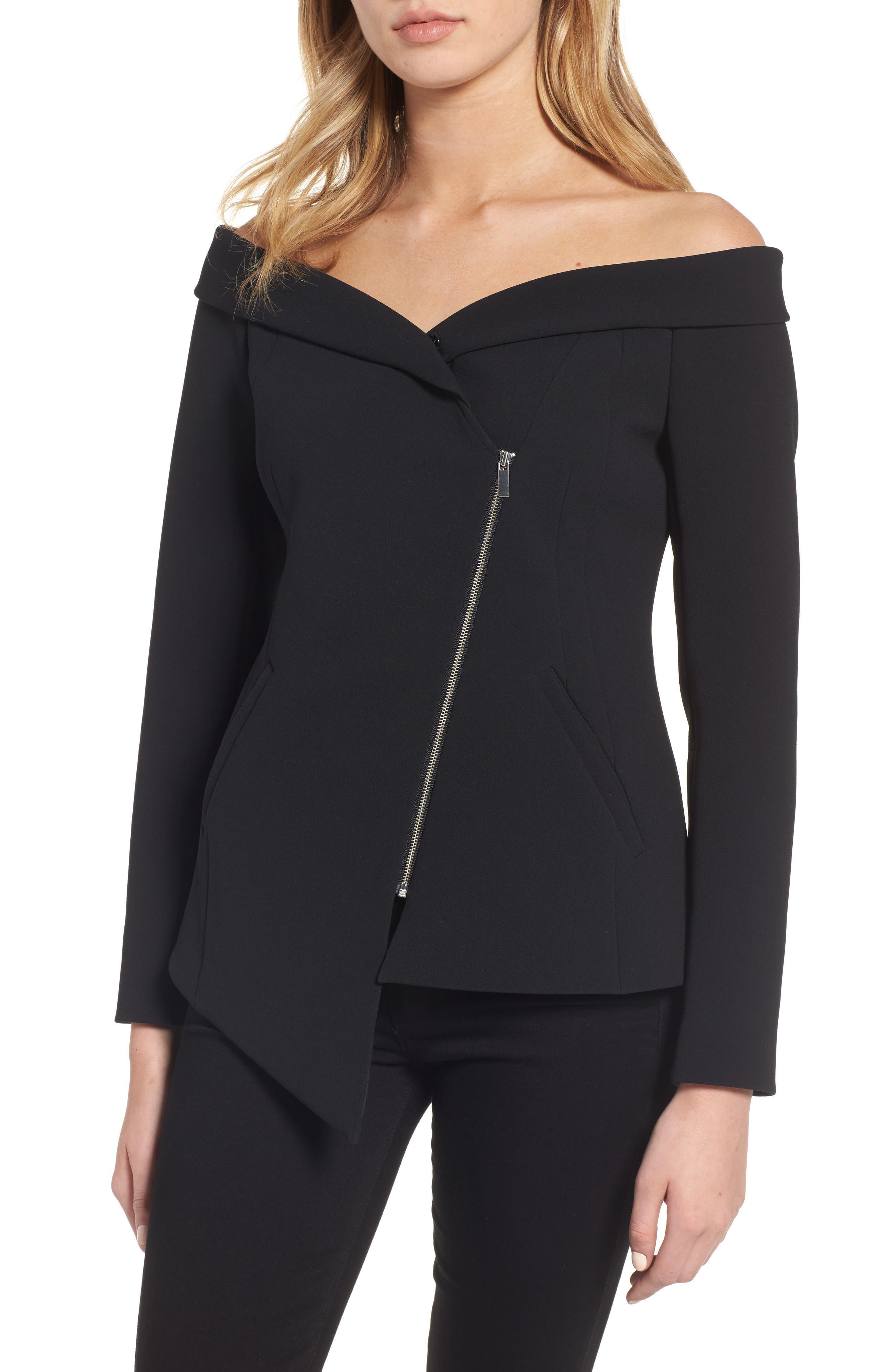 Off the Shoulder Blazer,                         Main,                         color, Black