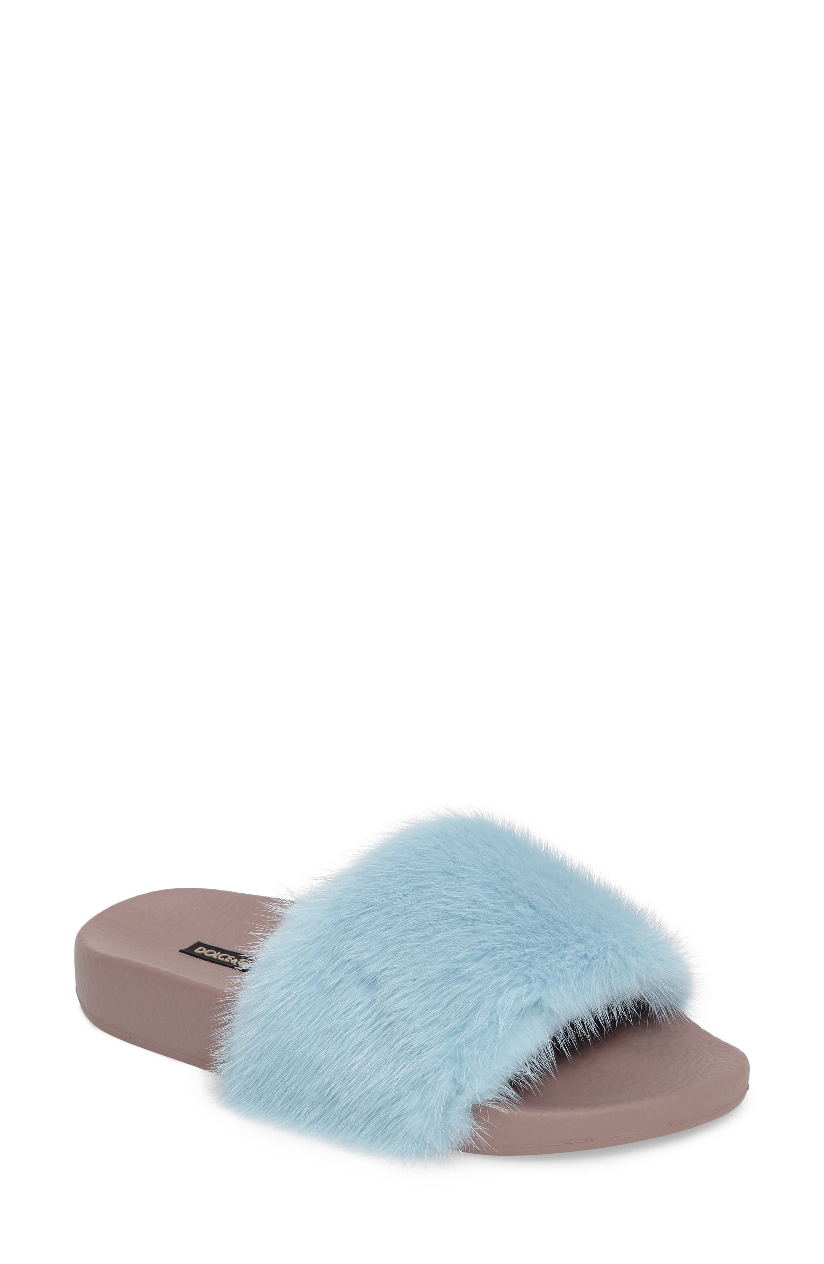 Dolce&Gabbana Genuine Mink Fur Slide Sandal (Women)