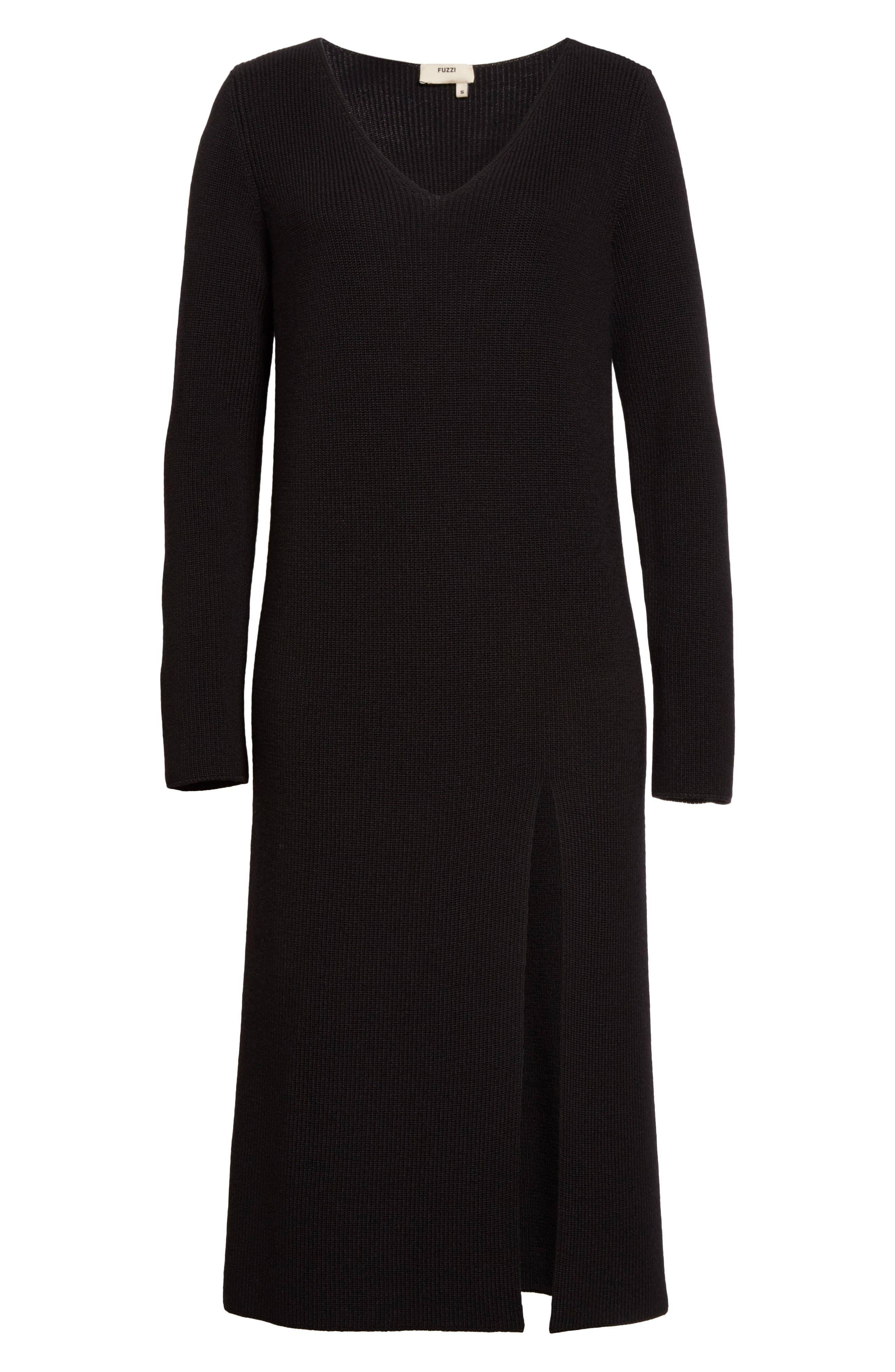 Virgin Wool Front Slit Tunic,                             Alternate thumbnail 7, color,                             Black
