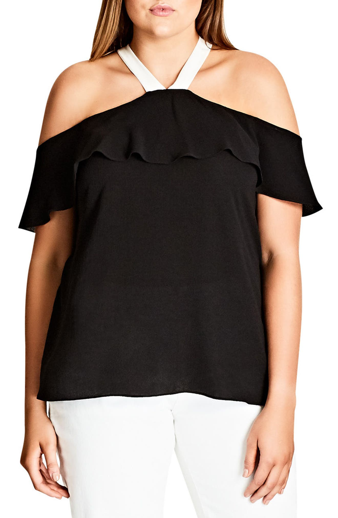 Alternate Image 1 Selected - City Chic Ashi Off the Shoulder Top (Plus Size)