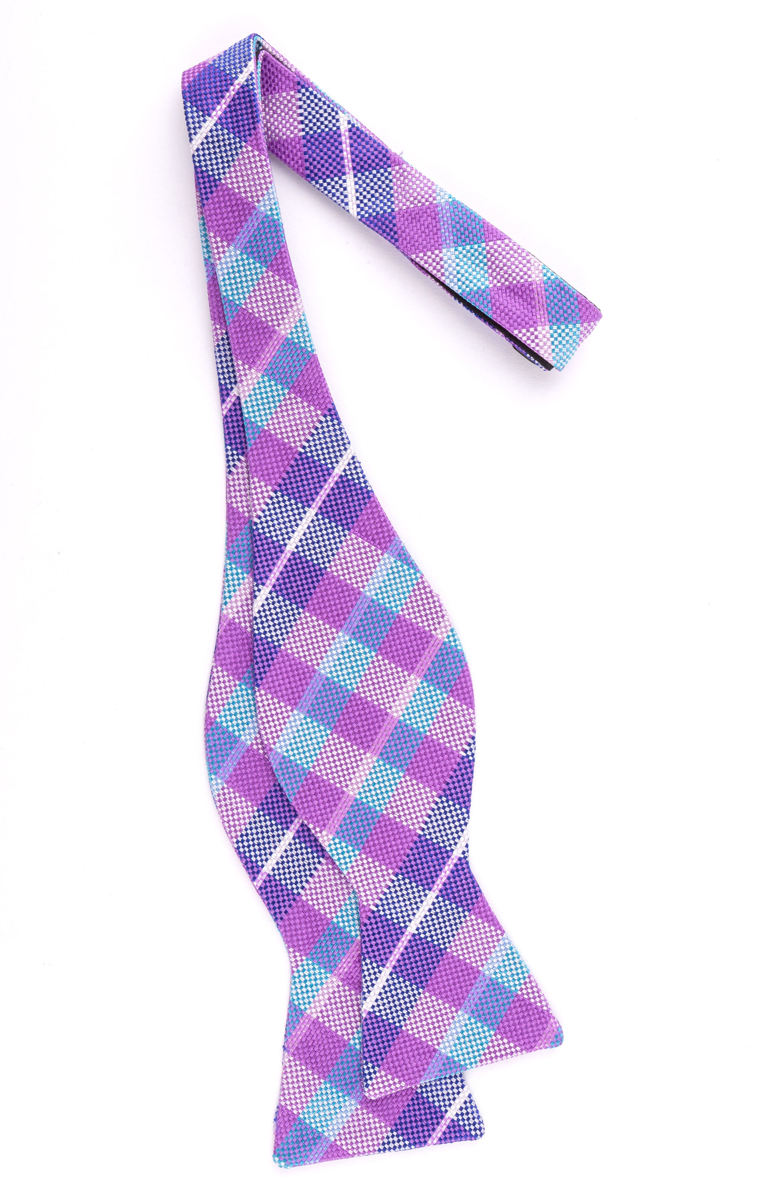 Plaid Silk Bow Tie,                             Alternate thumbnail 2, color,                             Pink/ Lilac