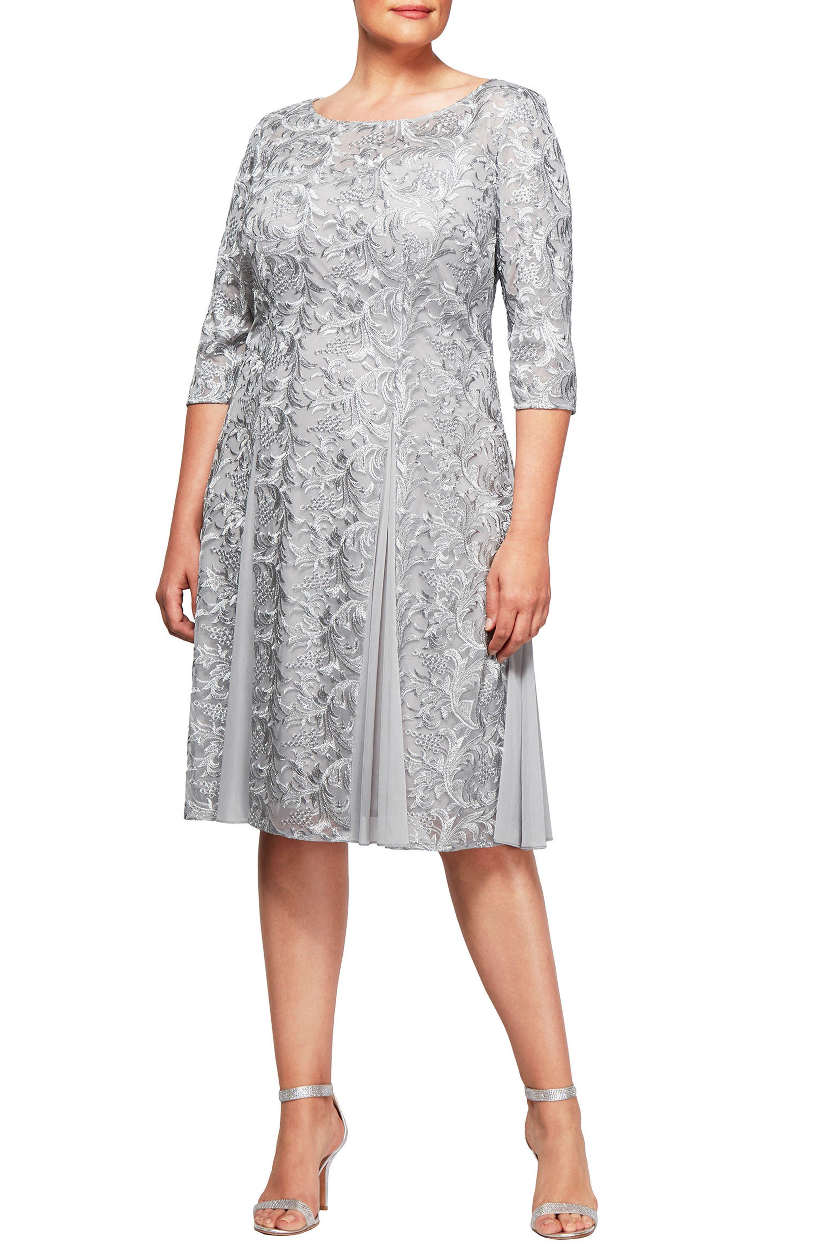 Embroidered A-Line Midi Dress,                         Main,                         color, Silver