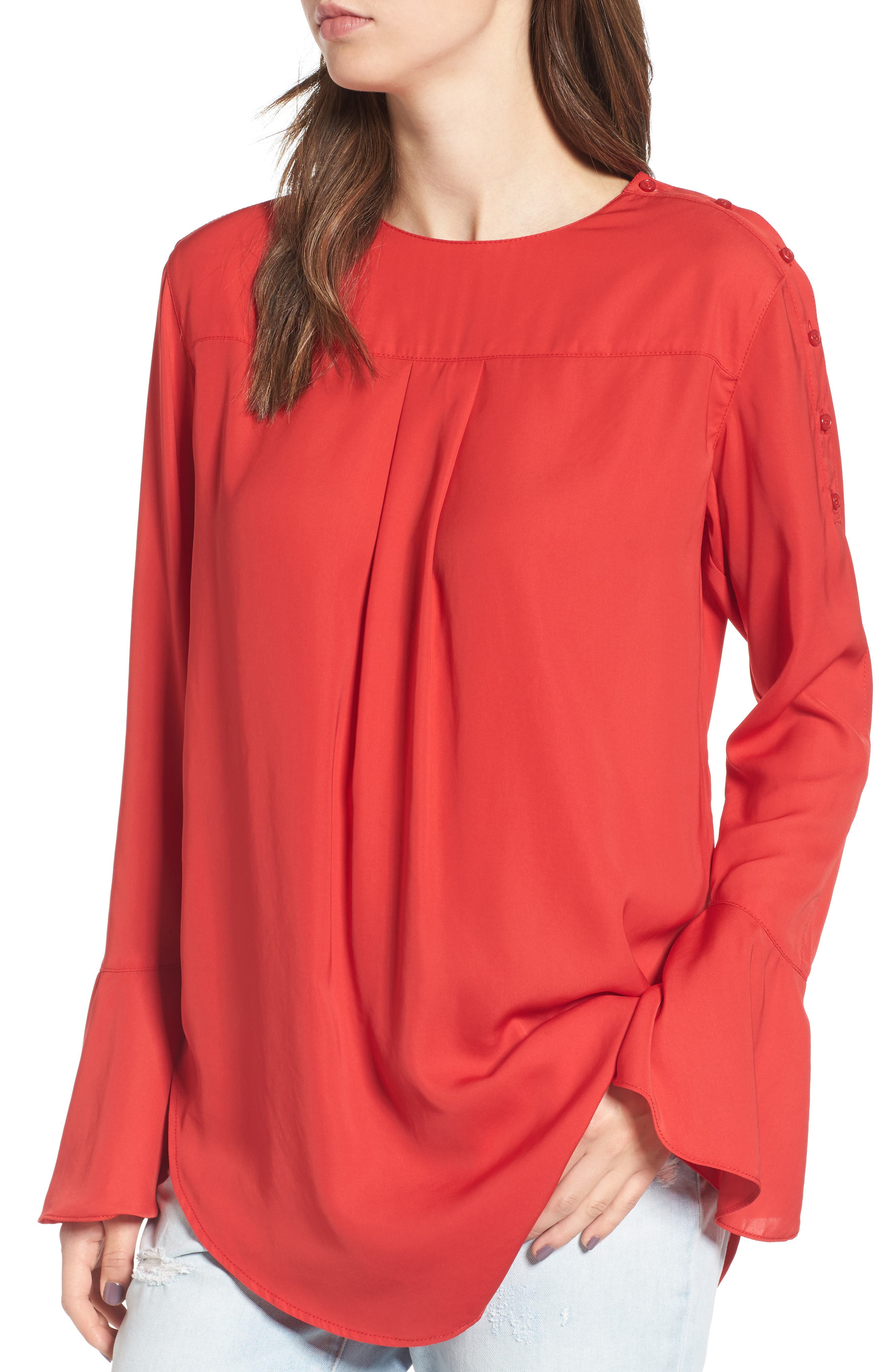 Bell Sleeve Top,                         Main,                         color, Red Ribbon
