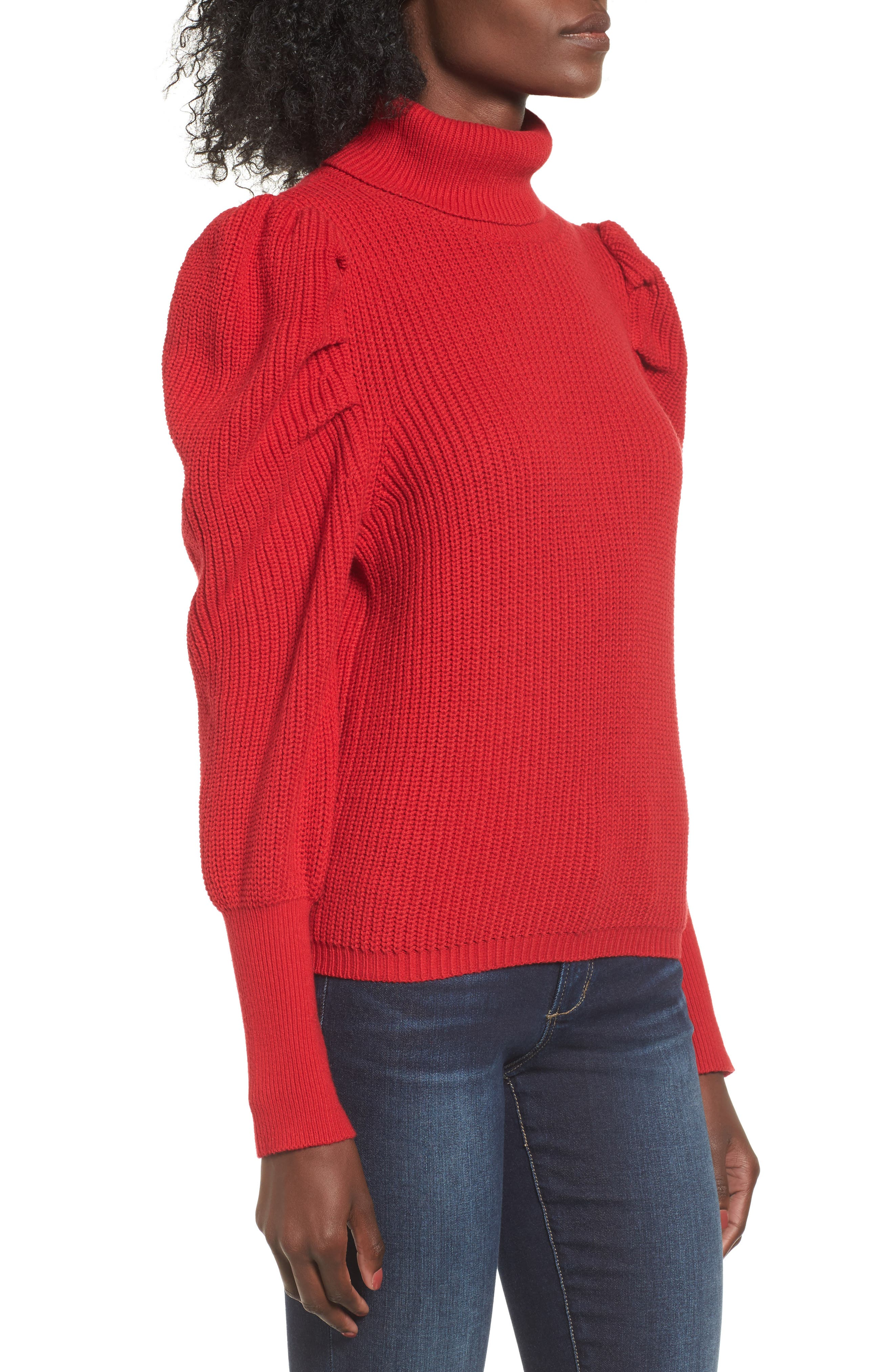 Puff Sleeve Turtleneck Sweater,                             Alternate thumbnail 3, color,                             Red Couture