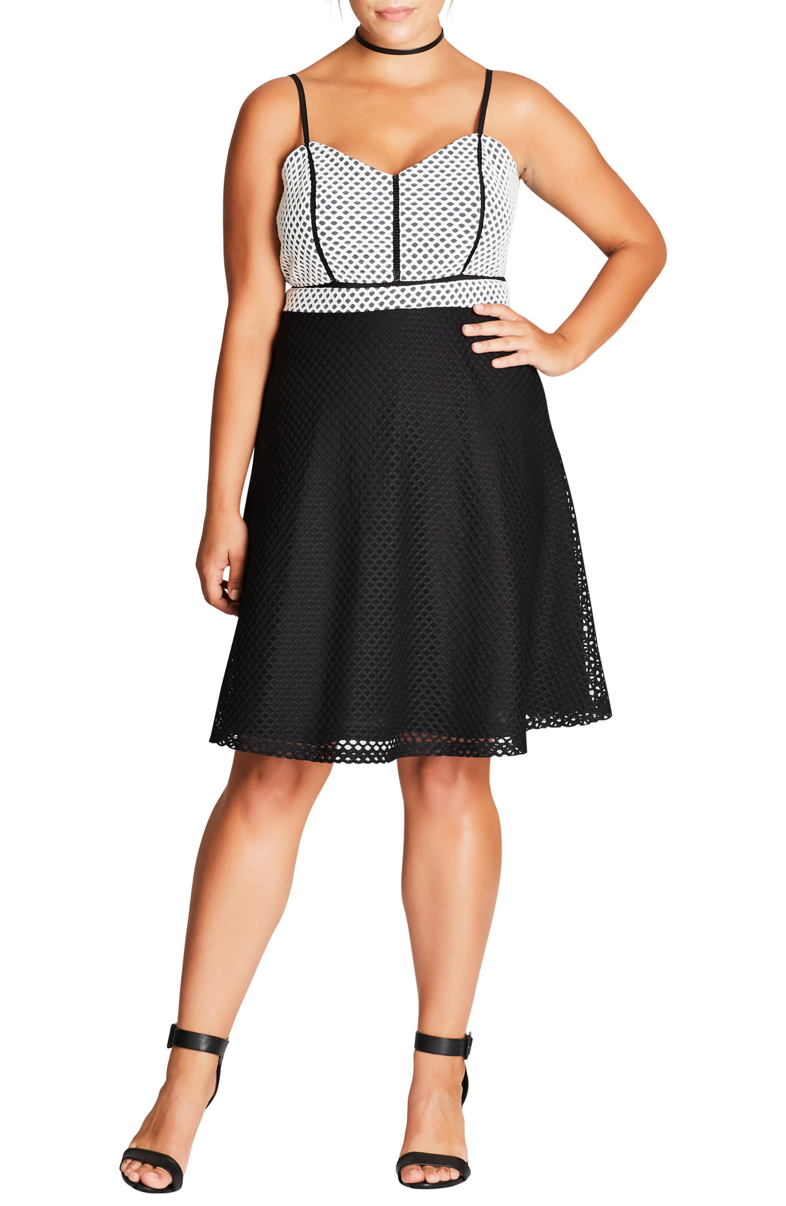 Geo Mesh Fit & Flare Dress,                         Main,                         color, Black