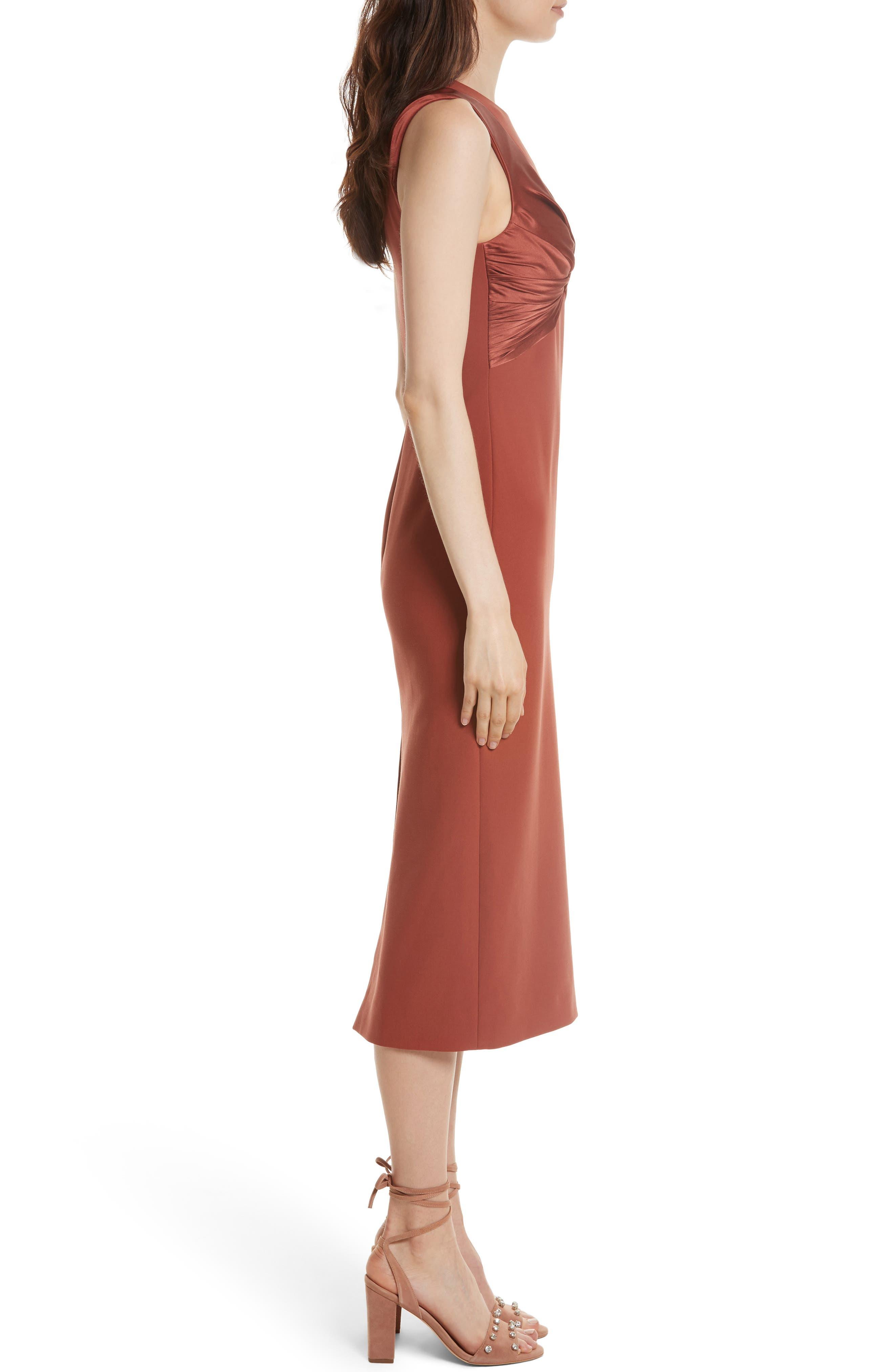 Adelise Crossover Sleeveless Sheath Dress,                             Alternate thumbnail 3, color,                             Tobacco