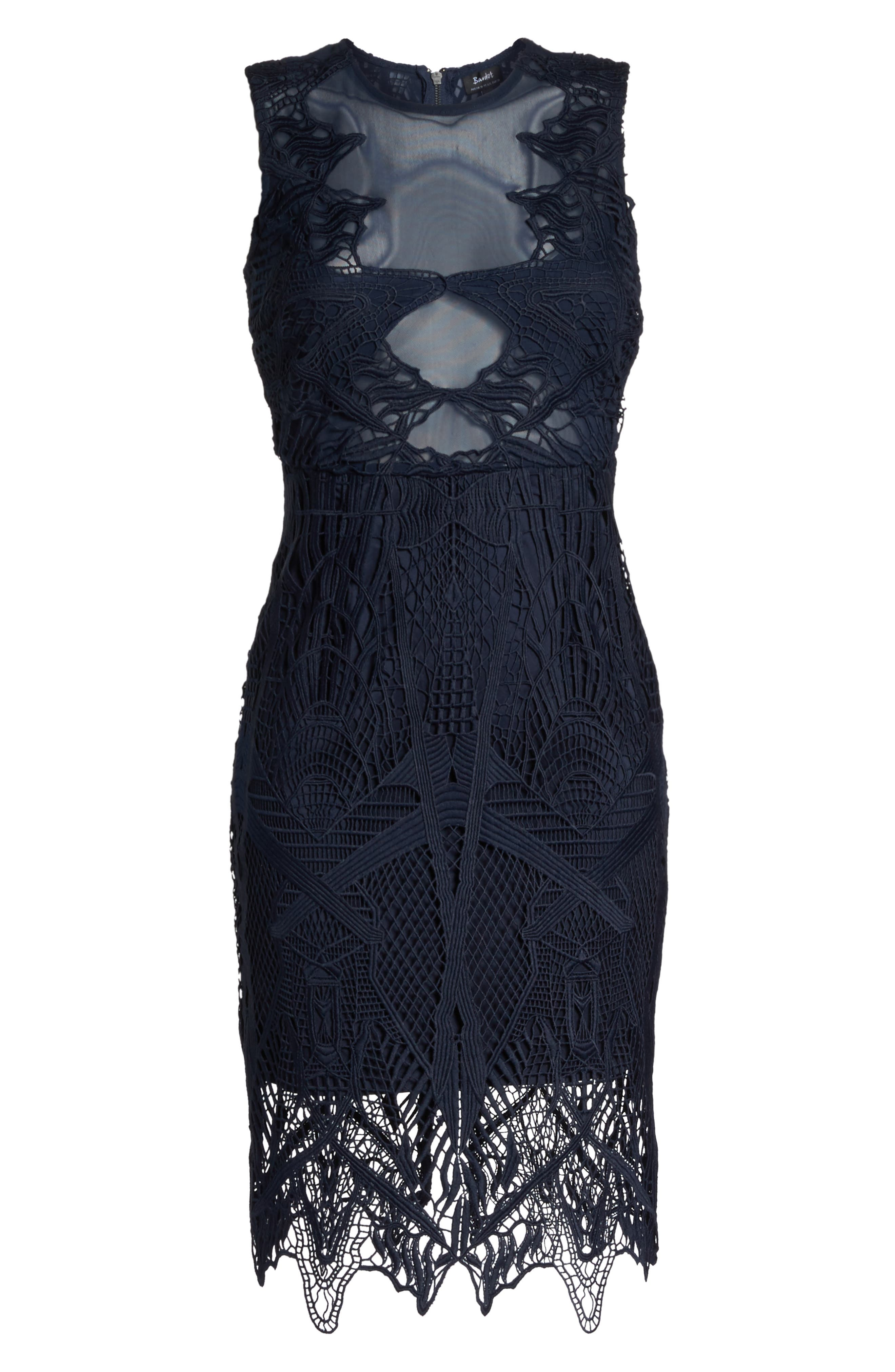 Illusion Lace Sheath Dress,                             Alternate thumbnail 6, color,                             French Navy