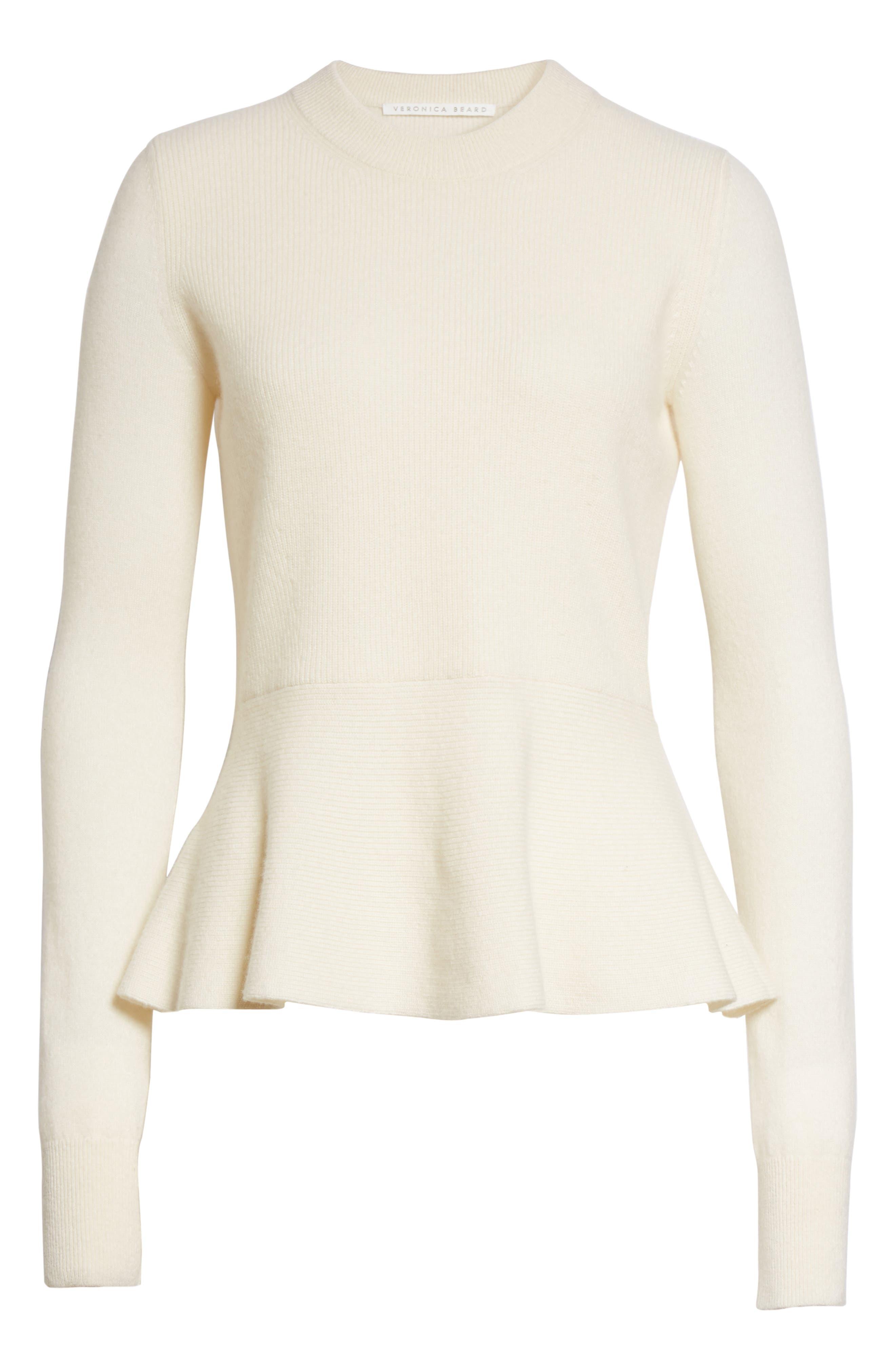 Alternate Image 6  - Veronica Beard Raleigh Cashmere Peplum Sweater
