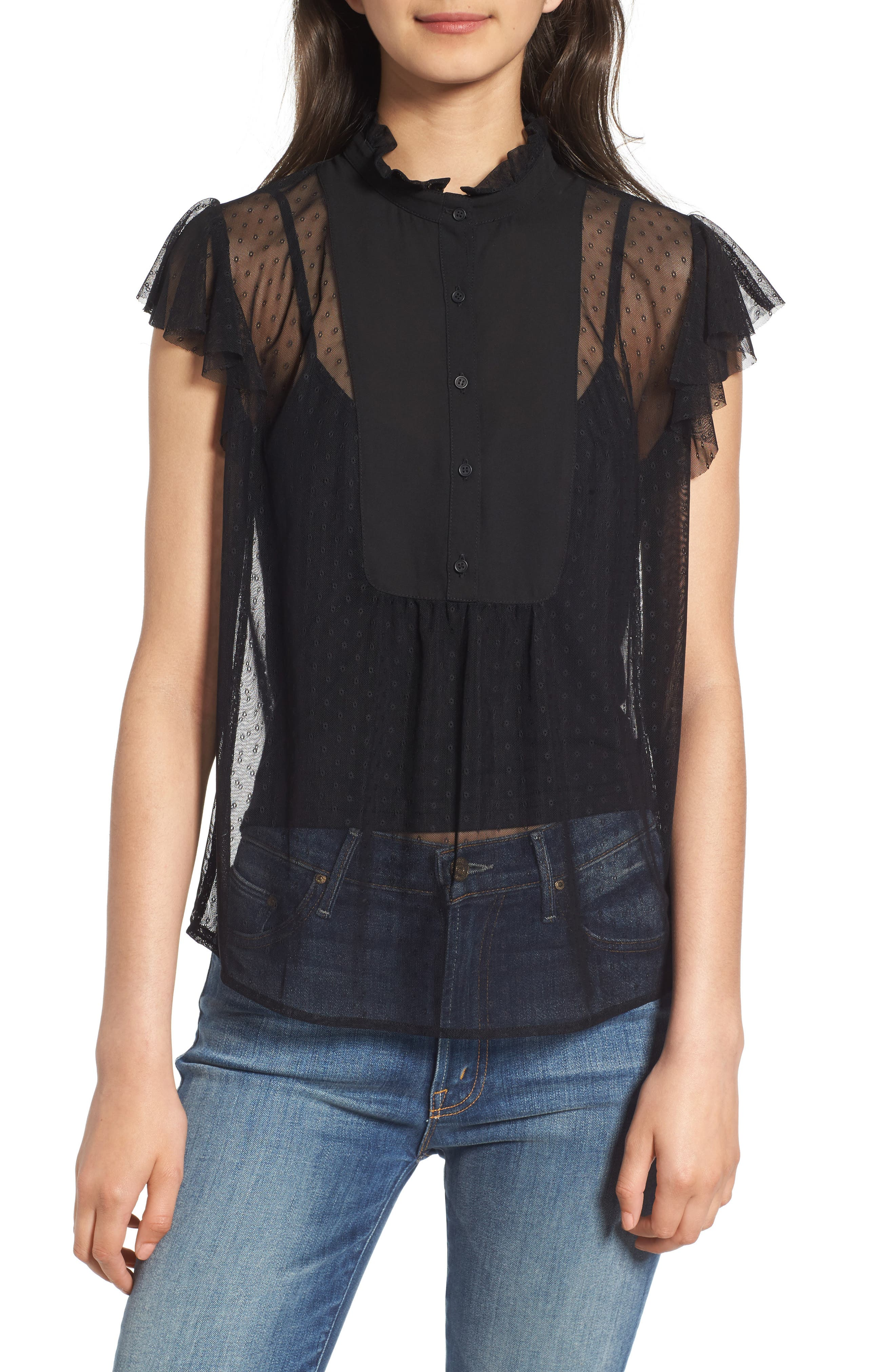 High Neck Lace Top,                         Main,                         color, Black