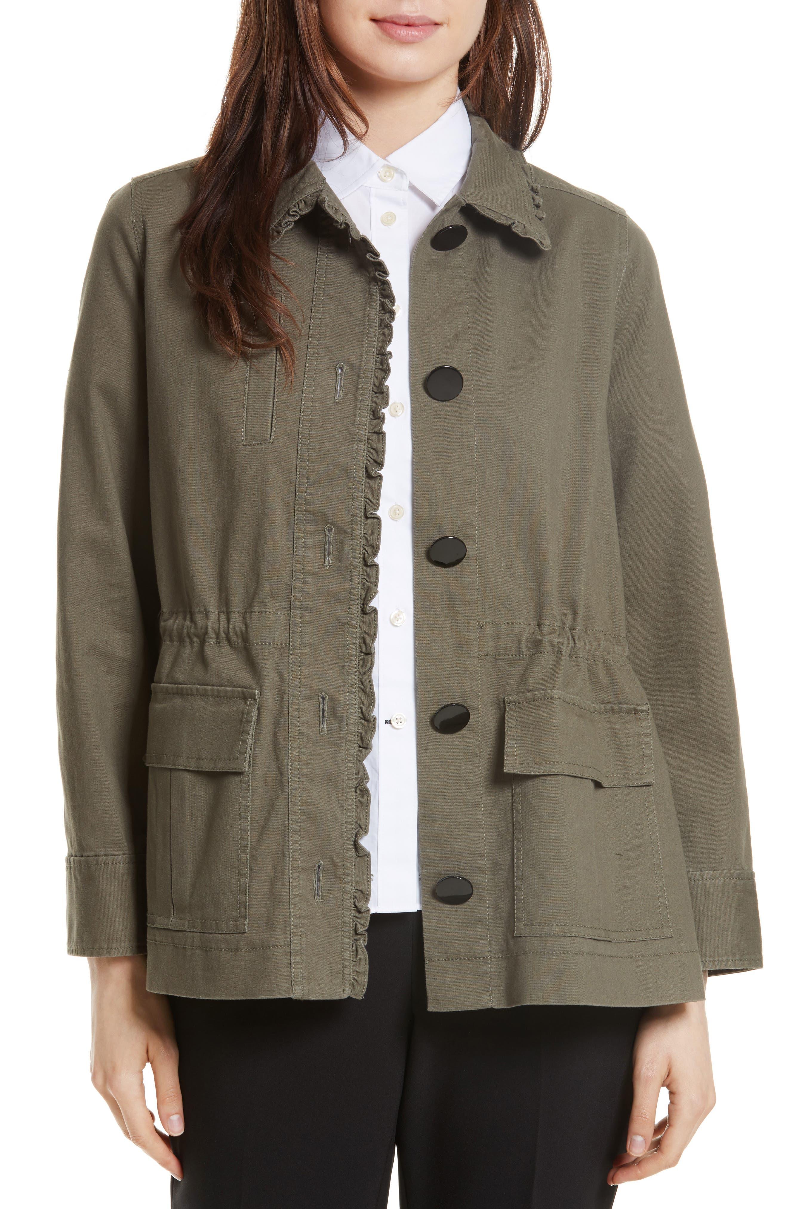 ruffle military jacket,                             Main thumbnail 1, color,                             Green
