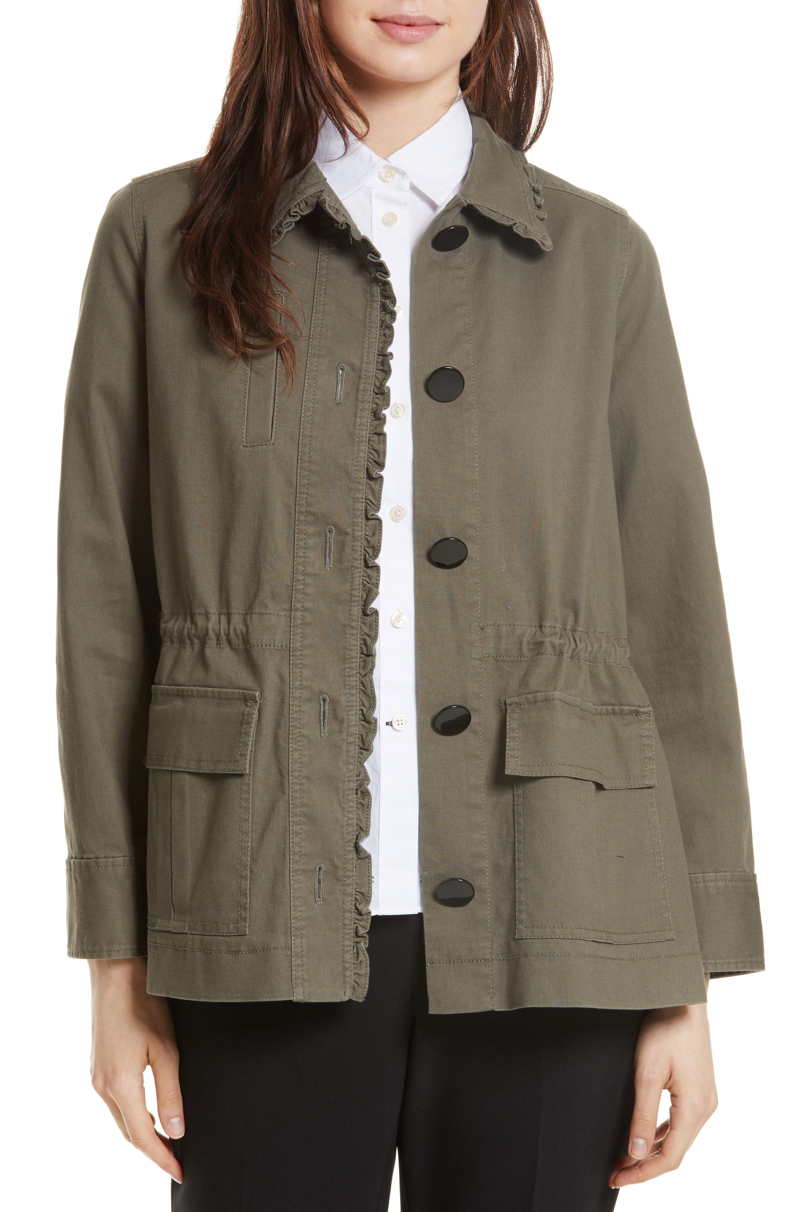 kate spade new york ruffle military jacket