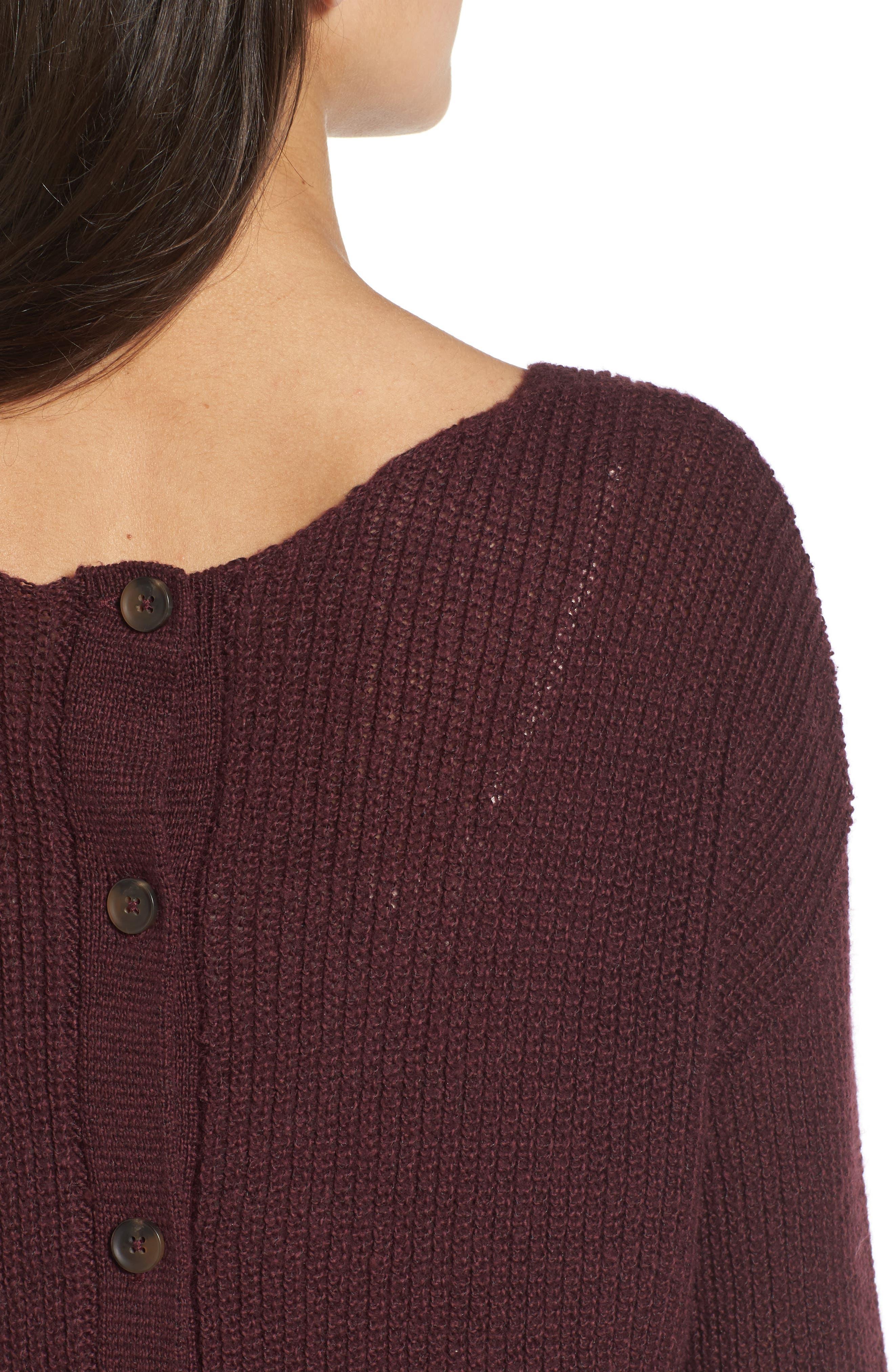Alternate Image 4  - Hinge Button Back V-Neck Sweater