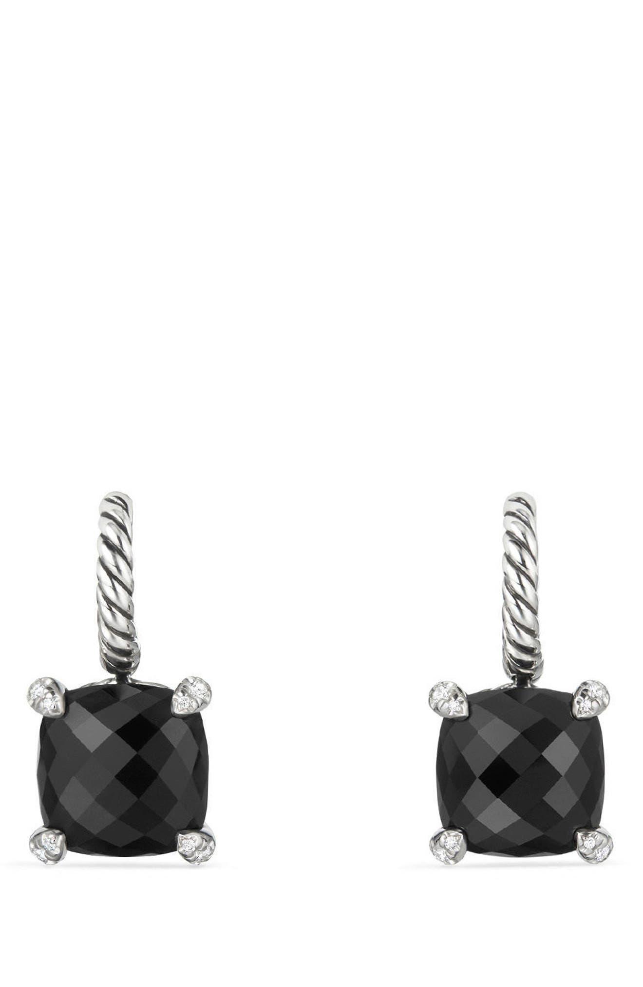 Châtelaine Drop Earrings with Diamonds,                             Main thumbnail 1, color,                             Black Onyx