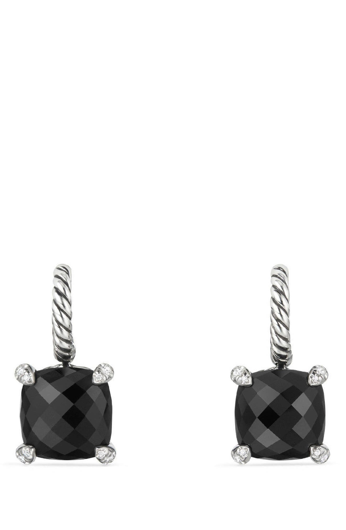 Châtelaine Drop Earrings with Diamonds,                         Main,                         color, Black Onyx