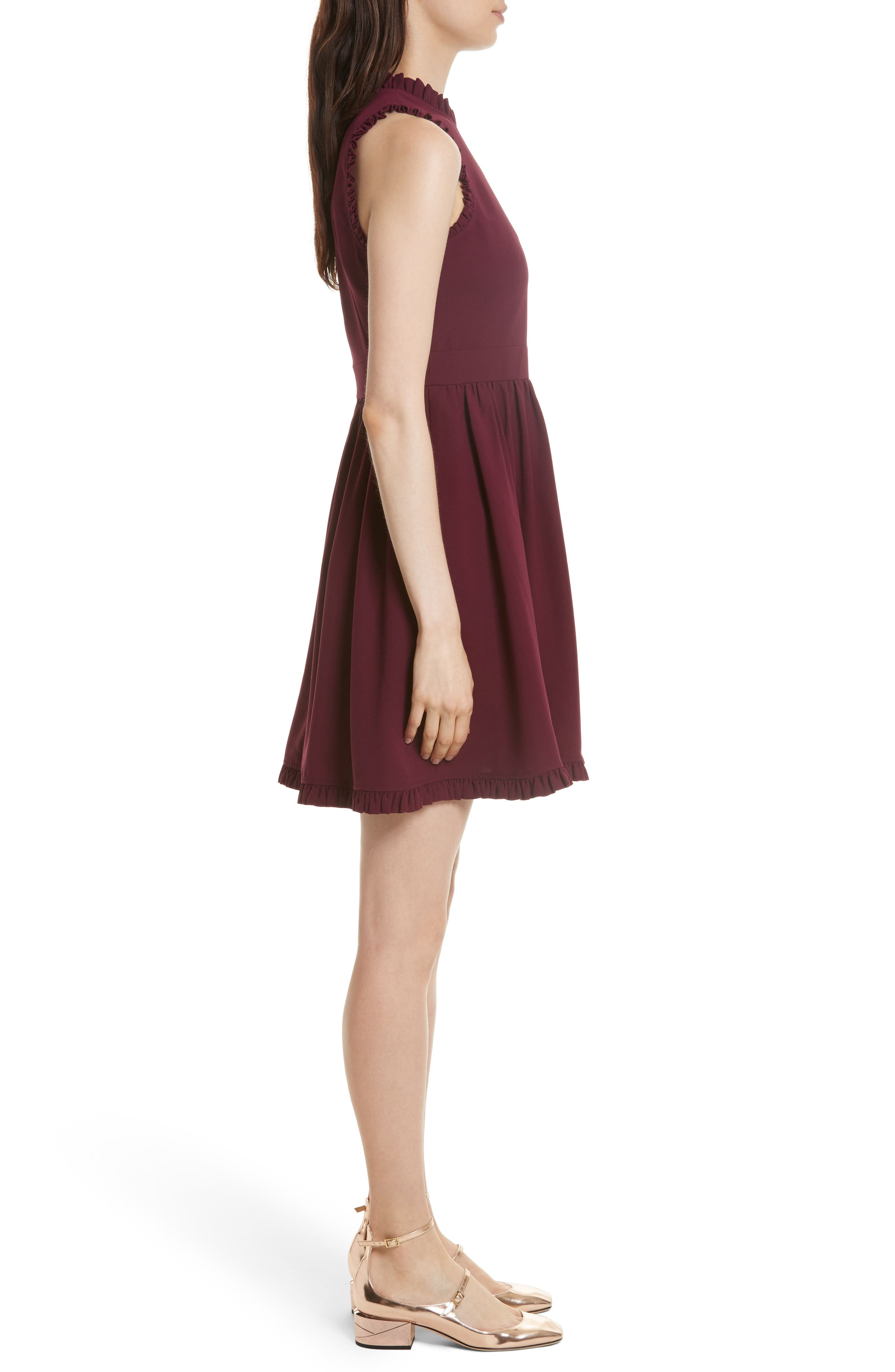 ruffle trim fit & flare dress,                             Alternate thumbnail 3, color,                             Burgundy