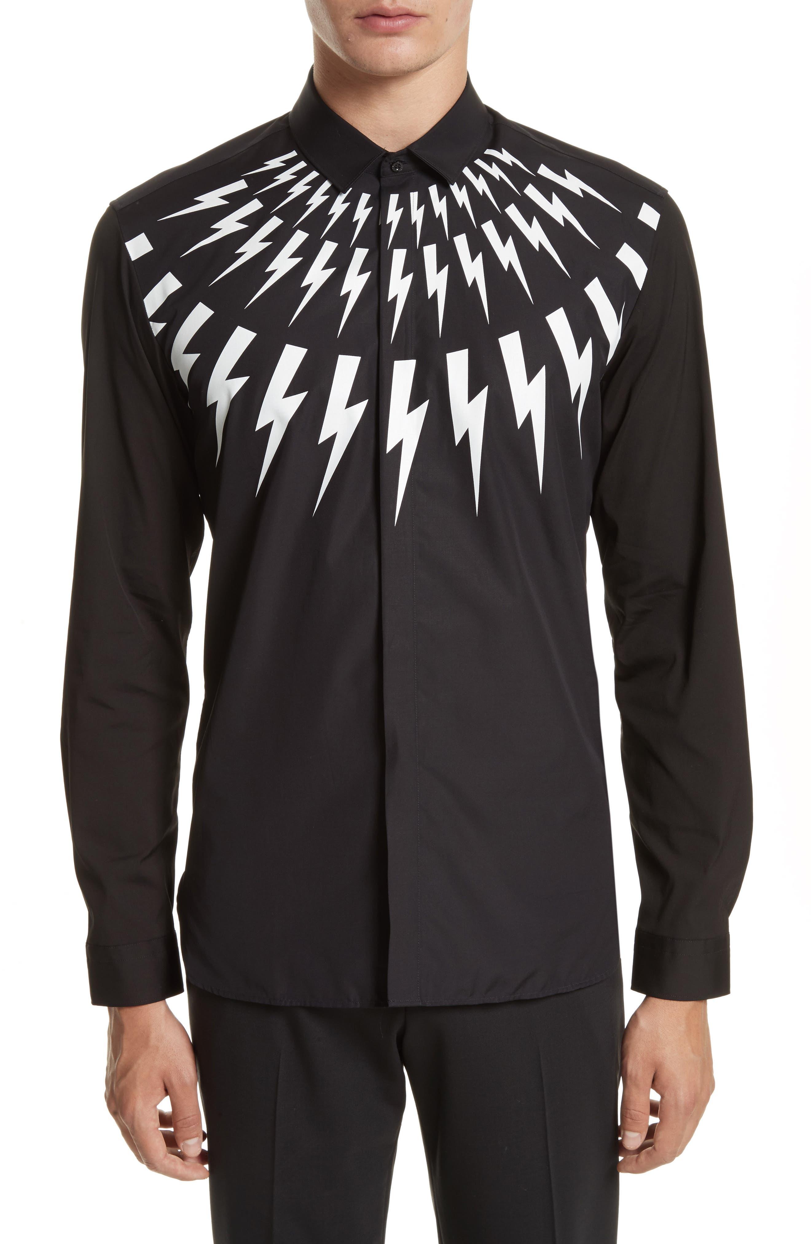 Trim Fit Thunderbolt Graphic Sport Shirt,                         Main,                         color, Black/ White