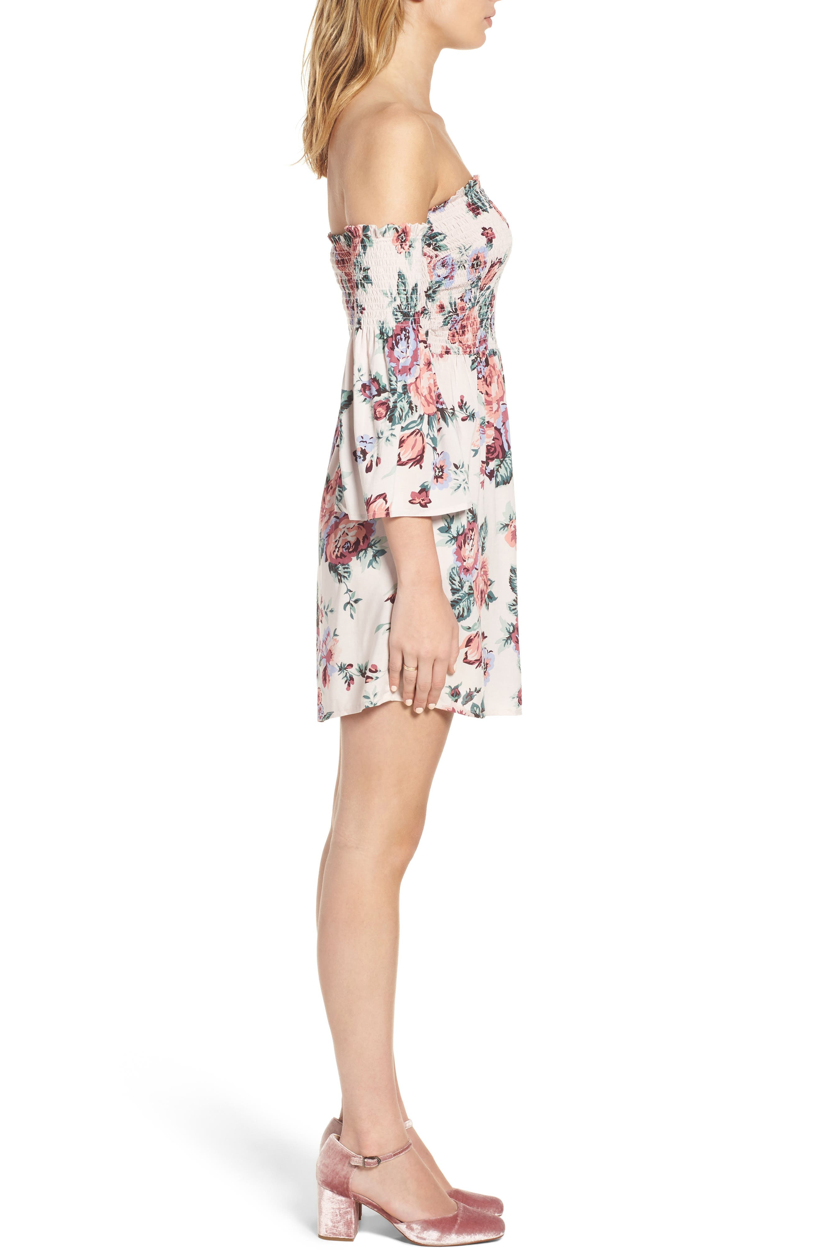Alternate Image 3  - Mimi Chica Floral Print Off the Shoulder Dress