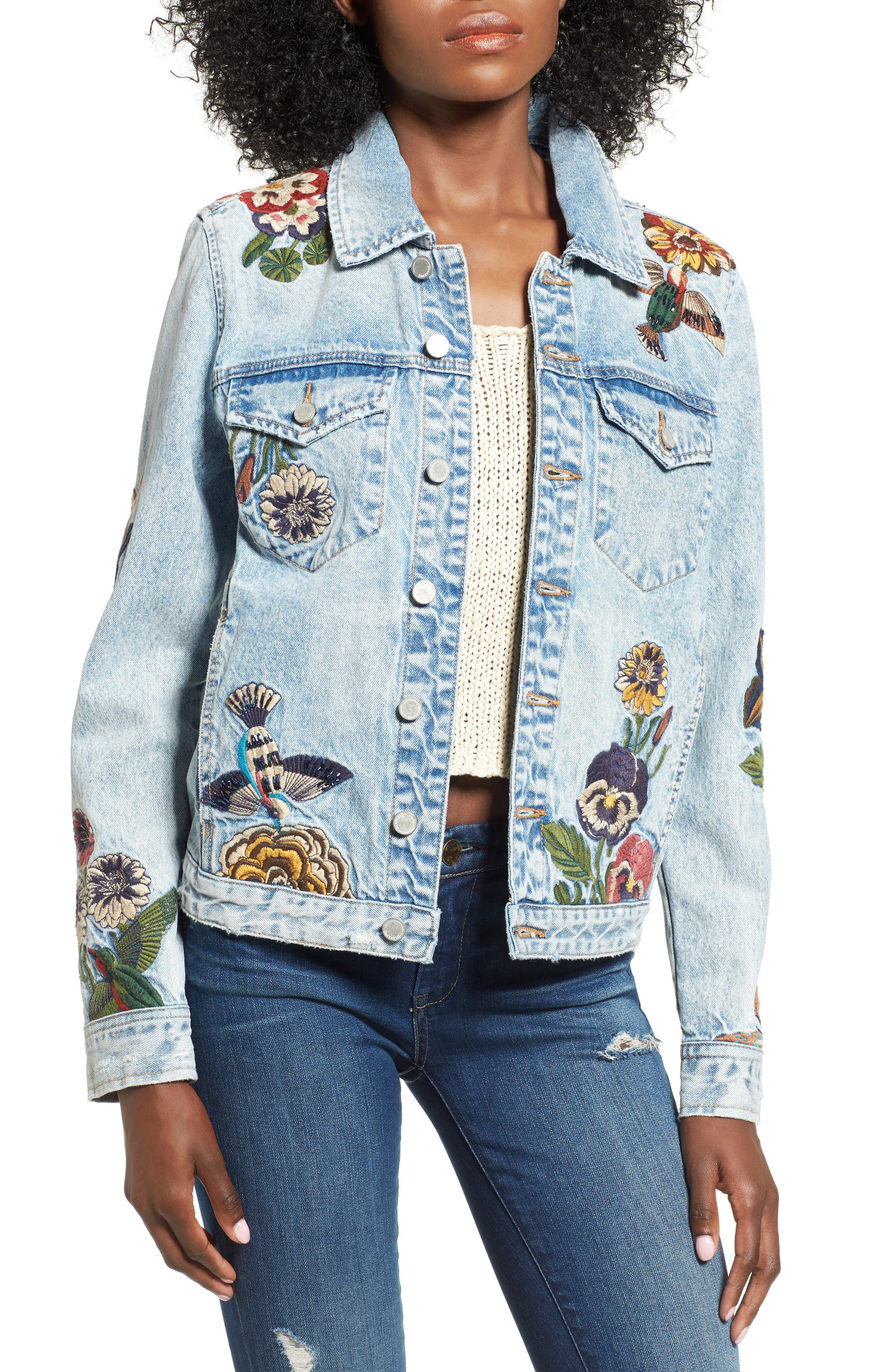 Embroidered Denim Jacket,                             Main thumbnail 1, color,                             Flight Song (Denim)