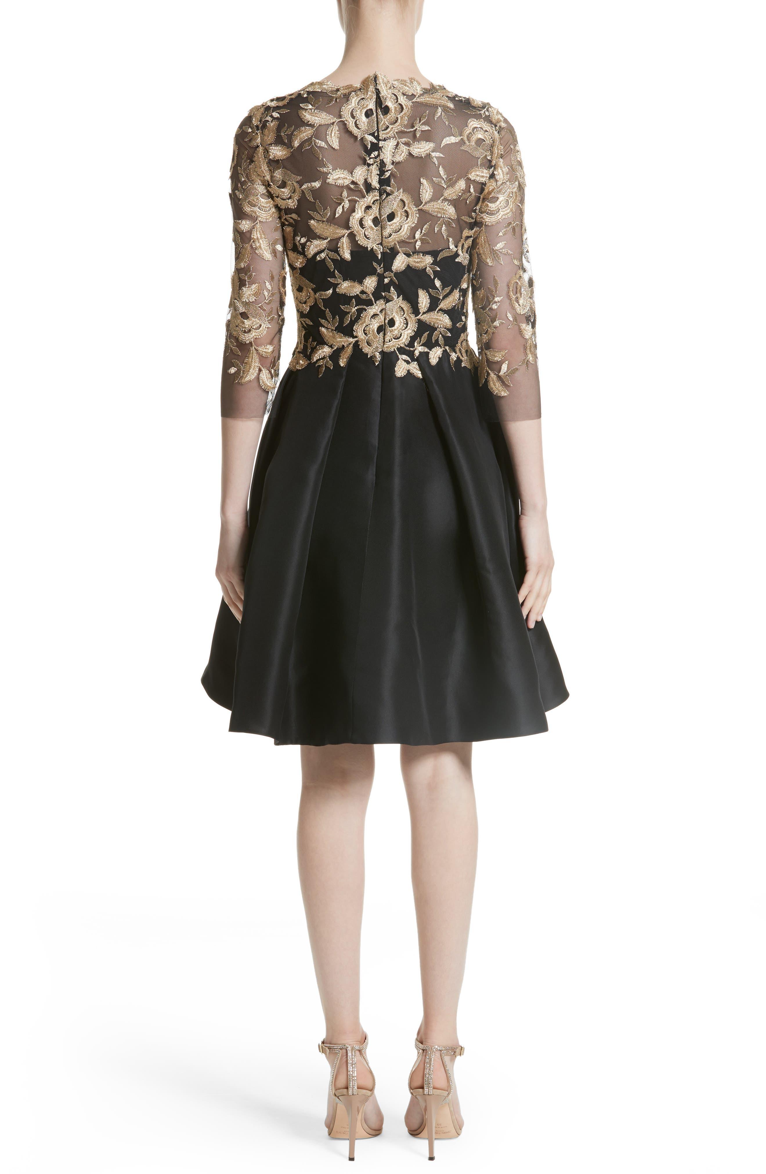 Embroidered Gazar Fit & Flare Dress,                             Alternate thumbnail 2, color,                             Noir/ Gold
