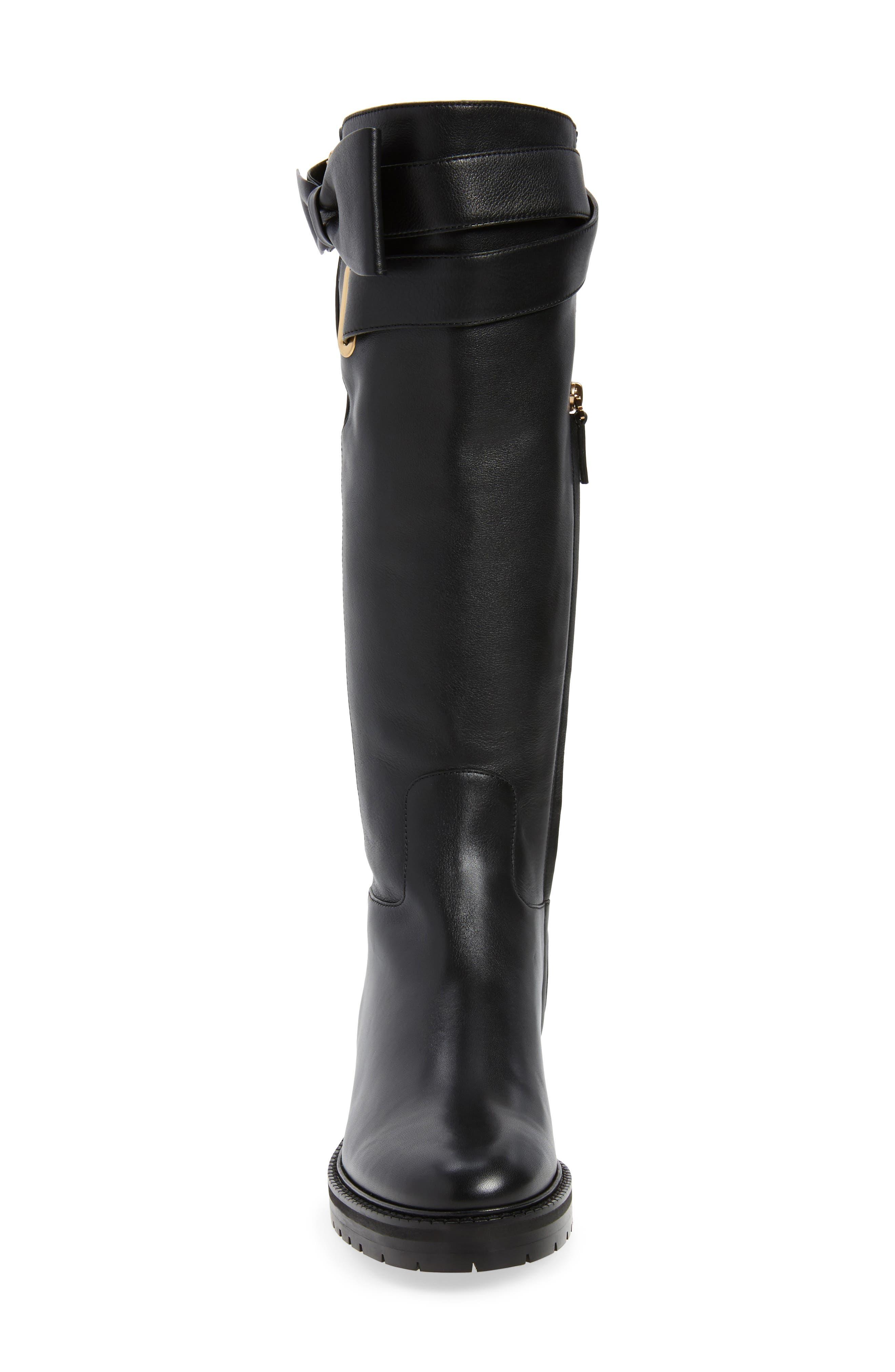 Bowrap Knee-High Boot,                             Alternate thumbnail 4, color,                             Black