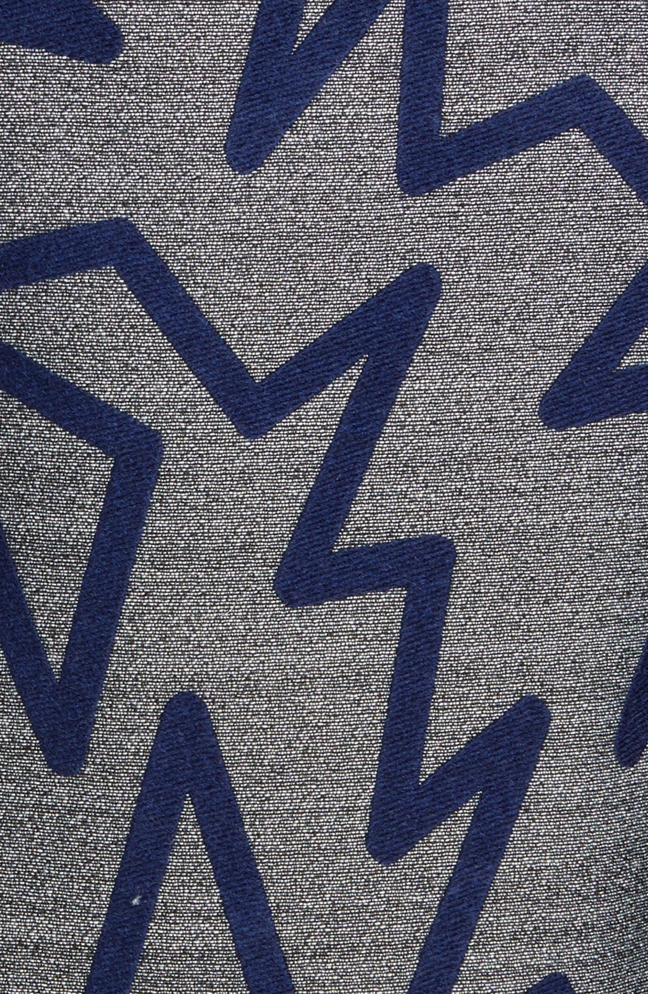 Zig Zag Drop Waist Dress,                             Alternate thumbnail 3, color,                             Grey