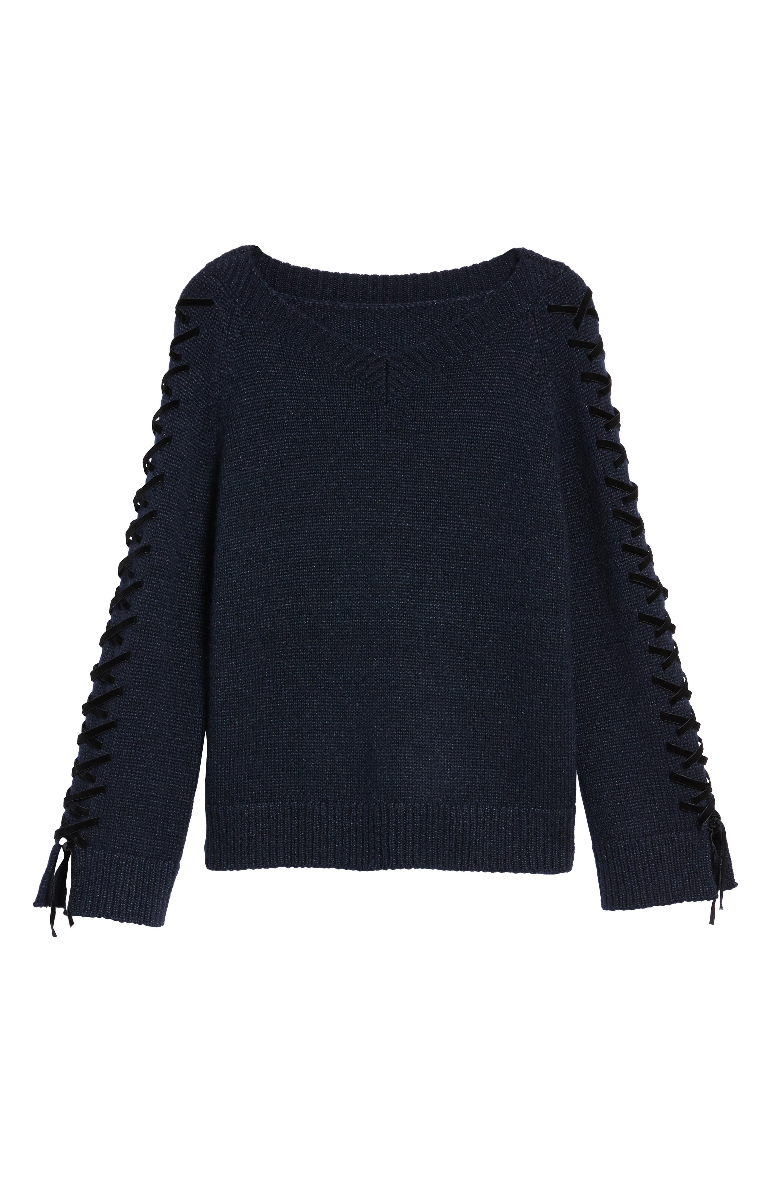 Laced Sleeve Pullover,                             Alternate thumbnail 7, color,                             Navy Night