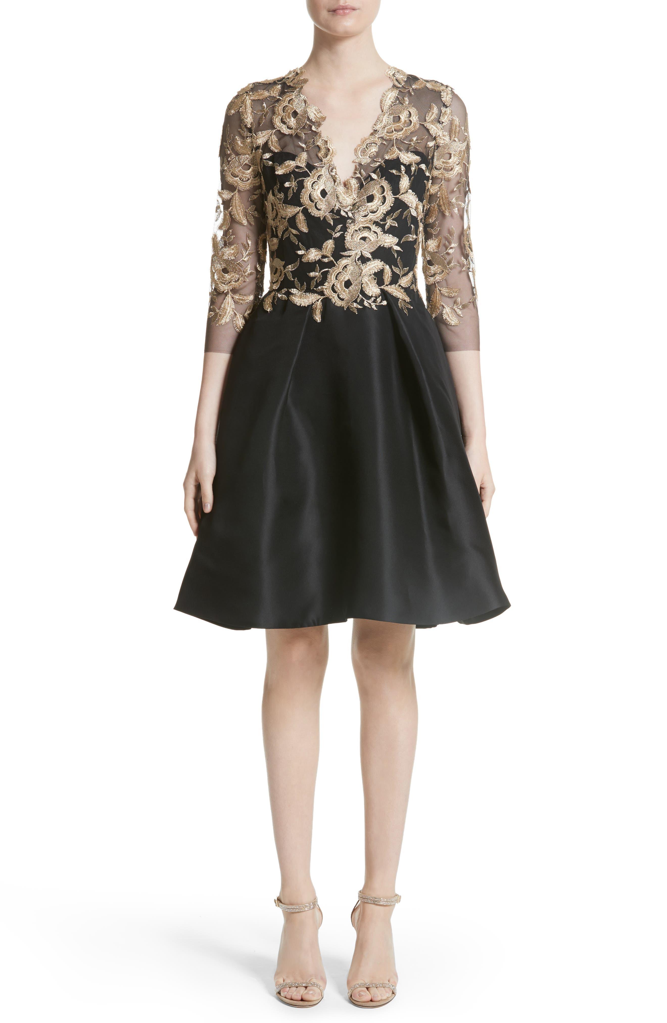 Embroidered Gazar Fit & Flare Dress,                             Main thumbnail 1, color,                             Noir/ Gold