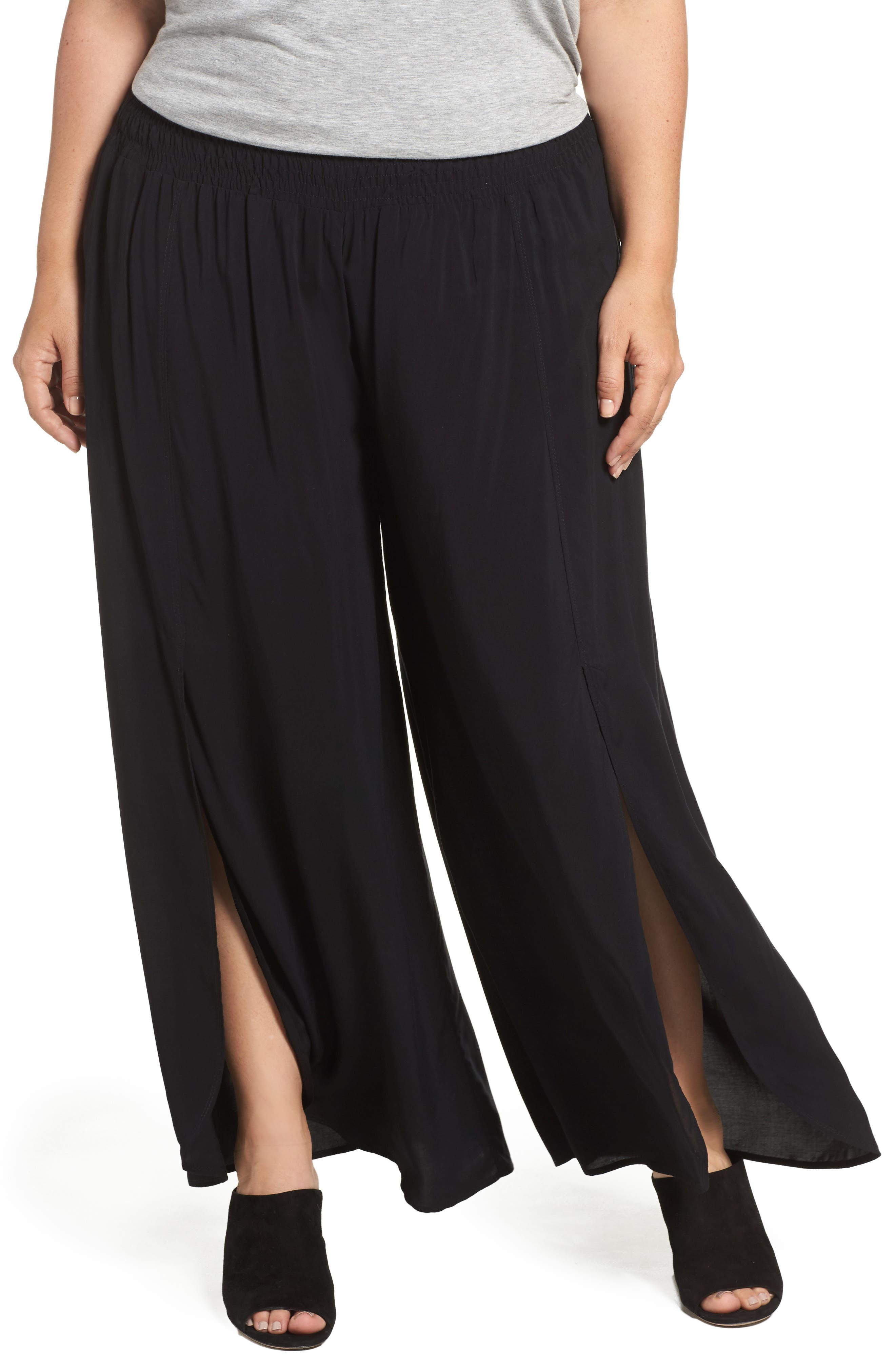 Nima Front Slit Pants,                         Main,                         color, Black