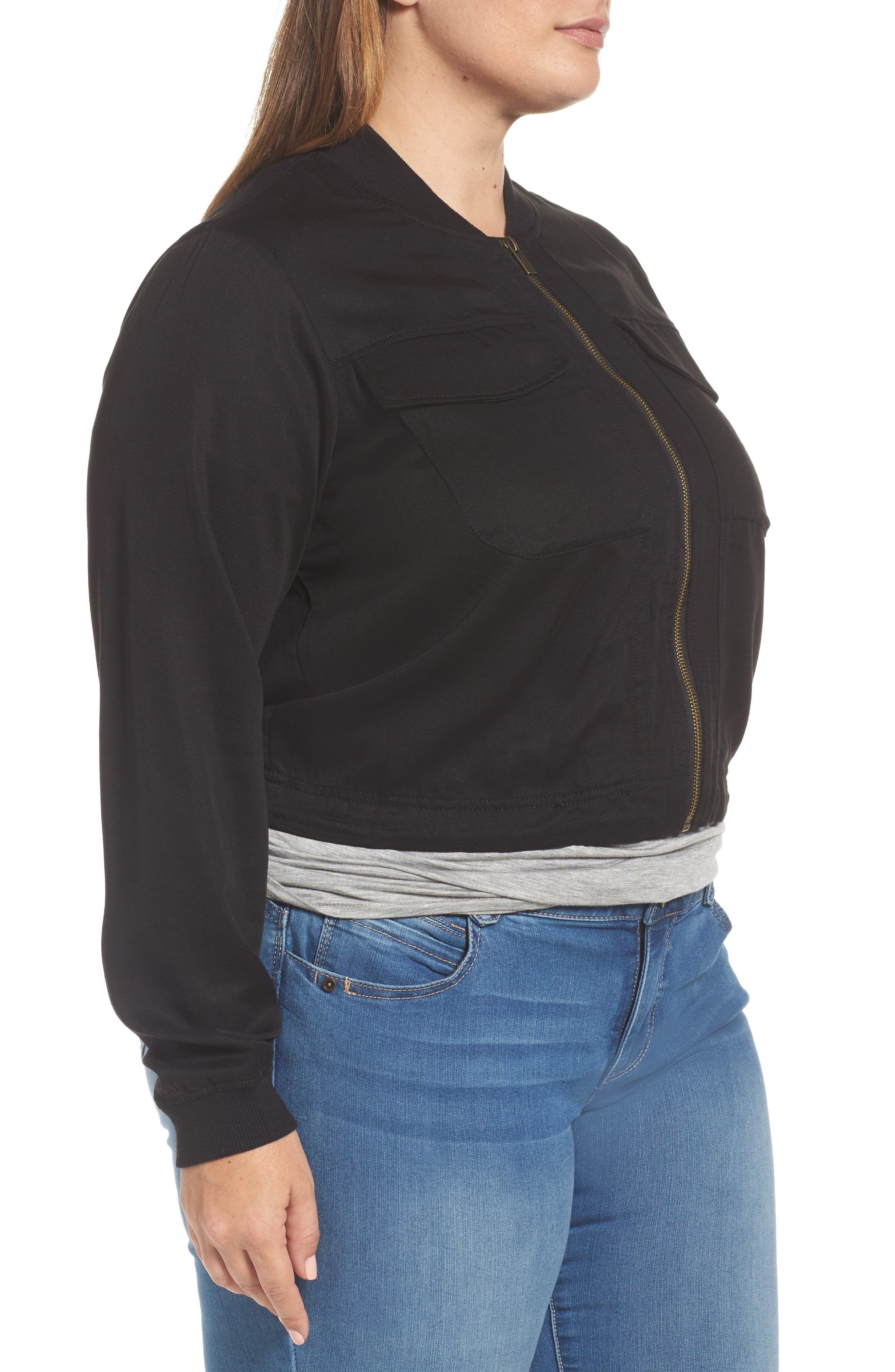 Alternate Image 3  - RACHEL Rachel Roy Drawstring Hem Bomber Jacket (Plus Size)