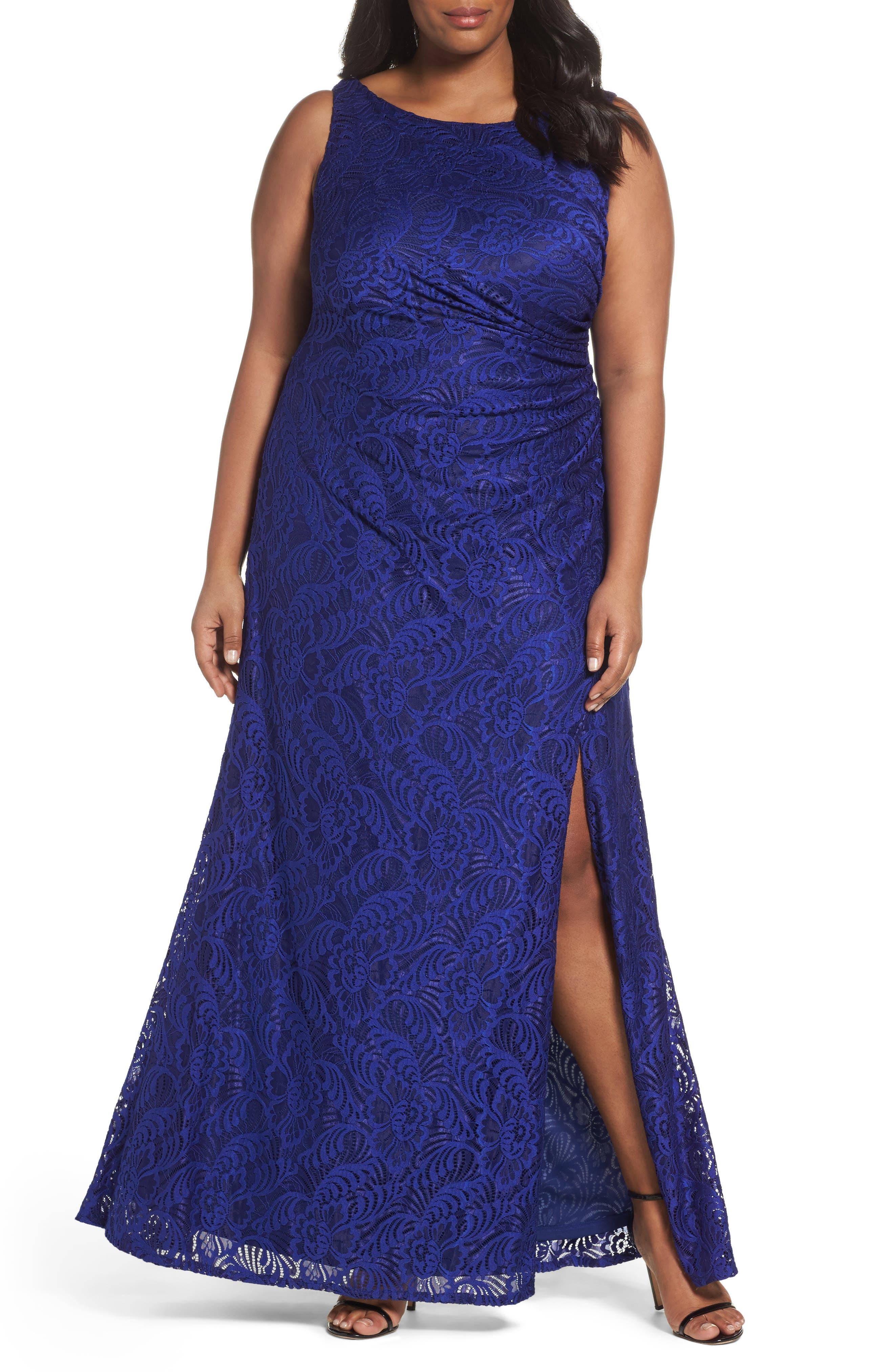 Cowl Back Stretch Lace Gown,                         Main,                         color, Neptune