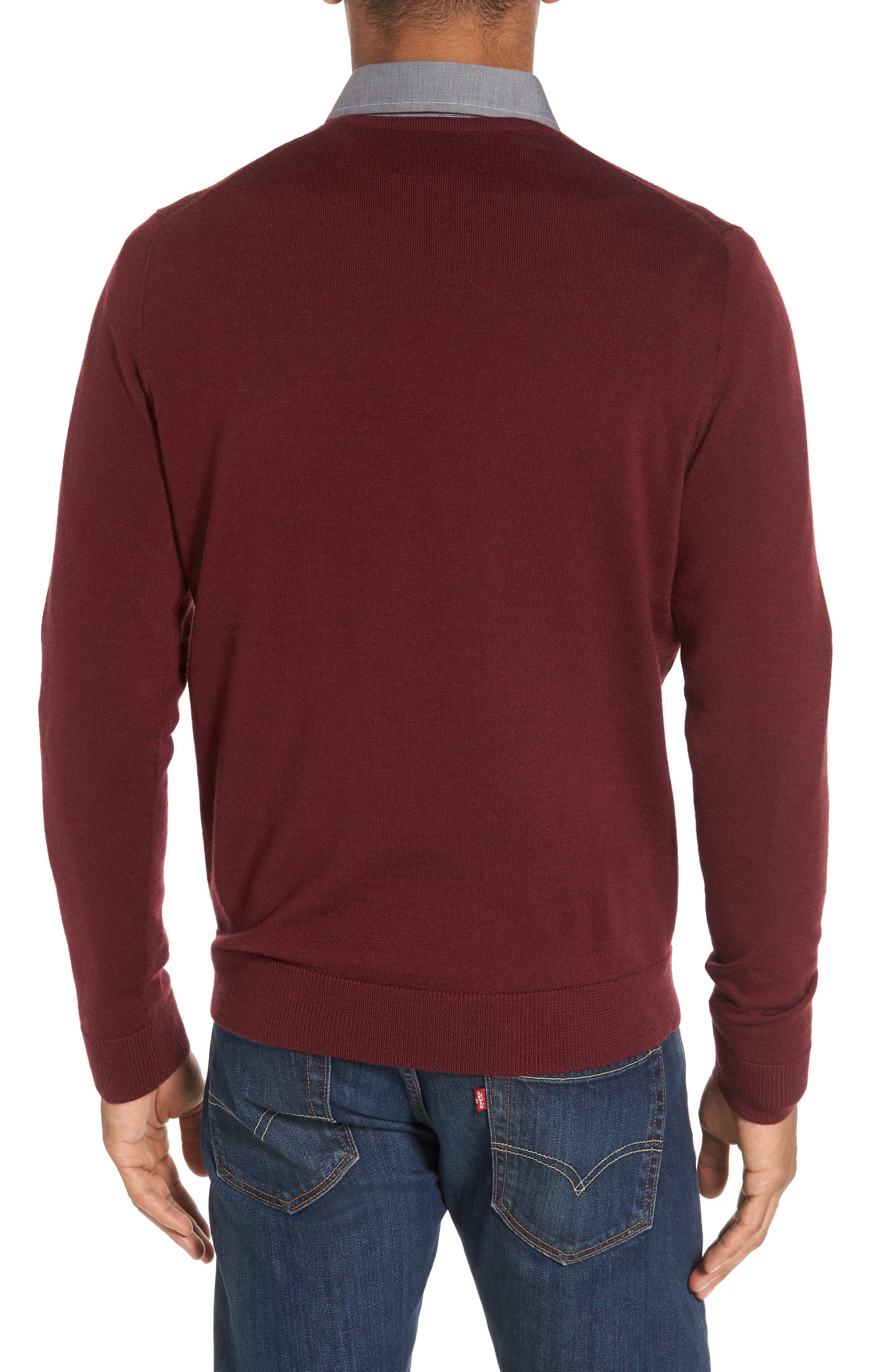 V-Neck Merino Wool Sweater,                             Alternate thumbnail 2, color,                             Burgundy Stem