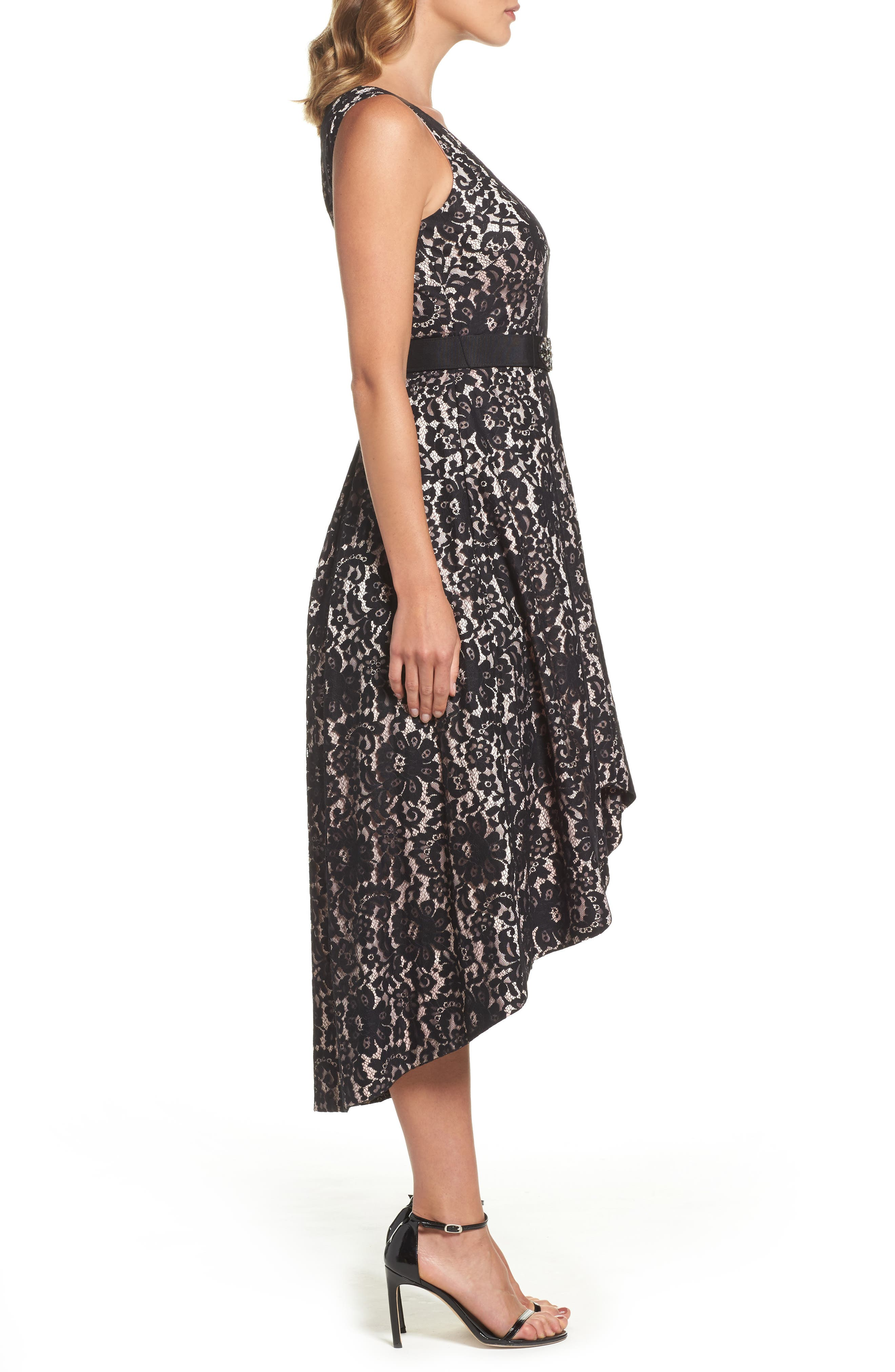 Belted Lace High/Low Dress,                             Alternate thumbnail 3, color,                             Black/ Blush