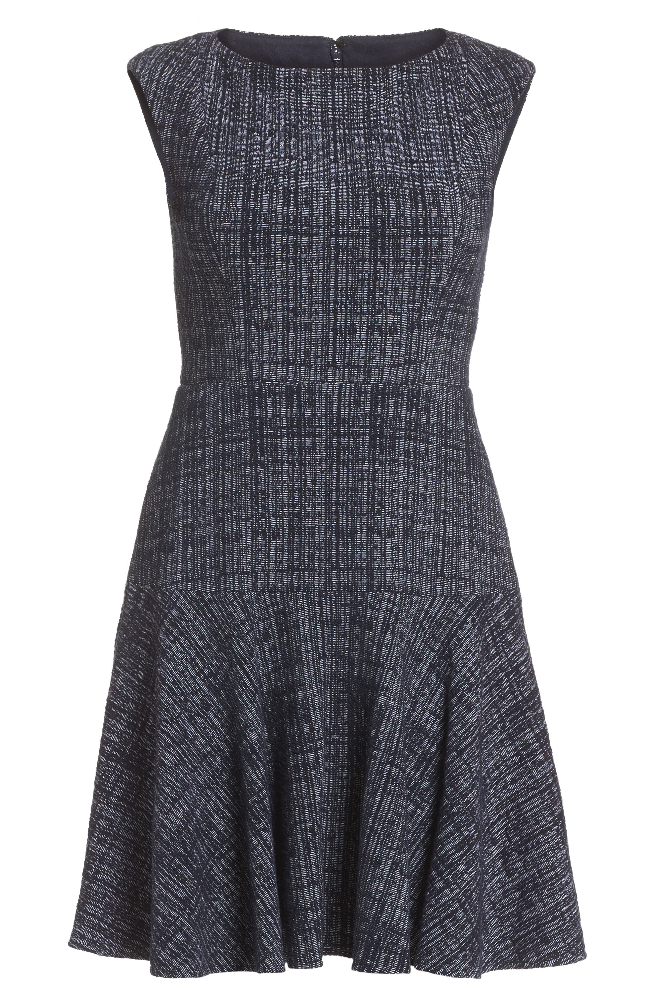Tweed Fit & Flare Dress,                             Alternate thumbnail 6, color,                             Navy