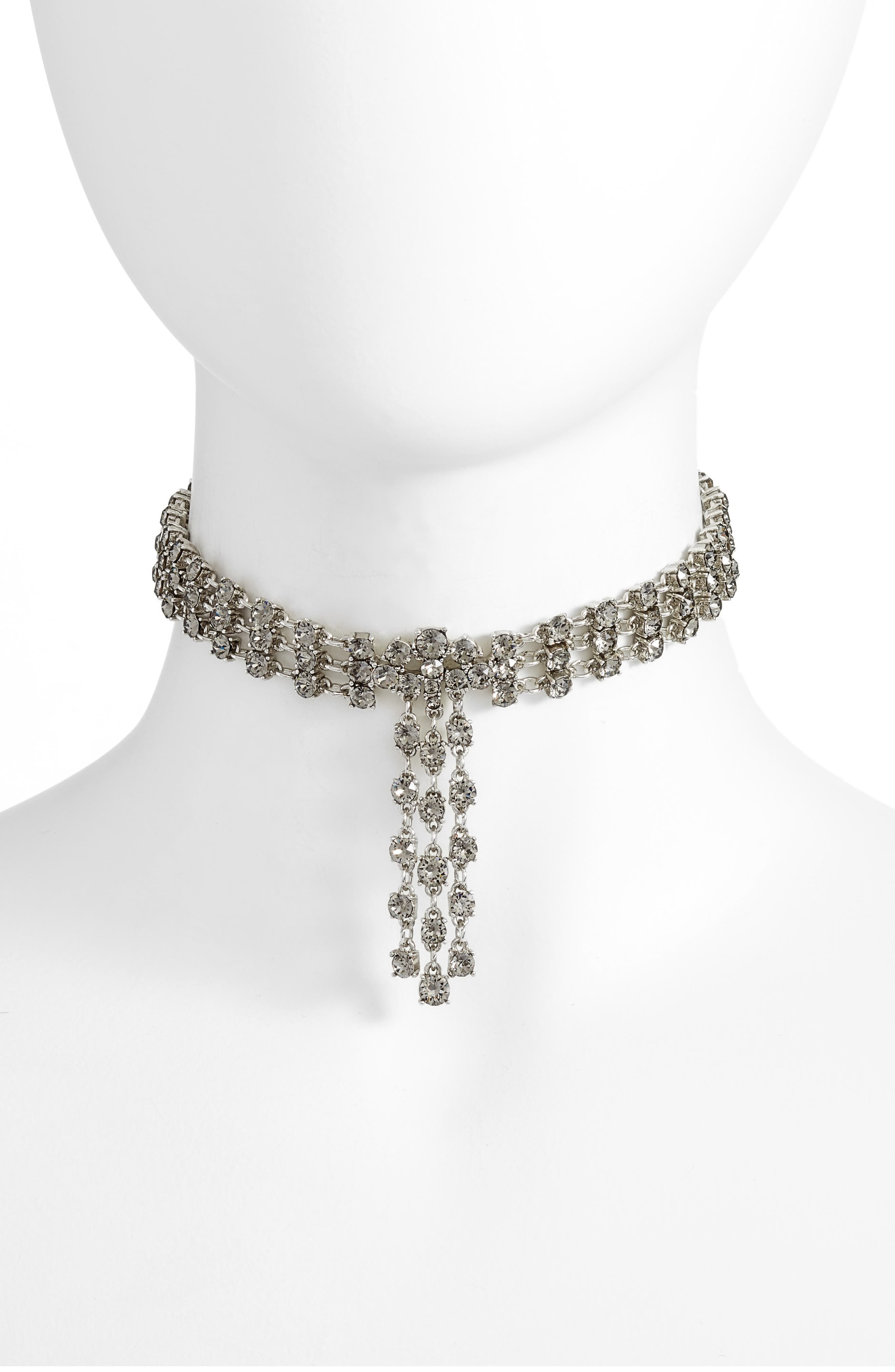 Crystal Tassel Choker Necklace,                         Main,                         color, Black