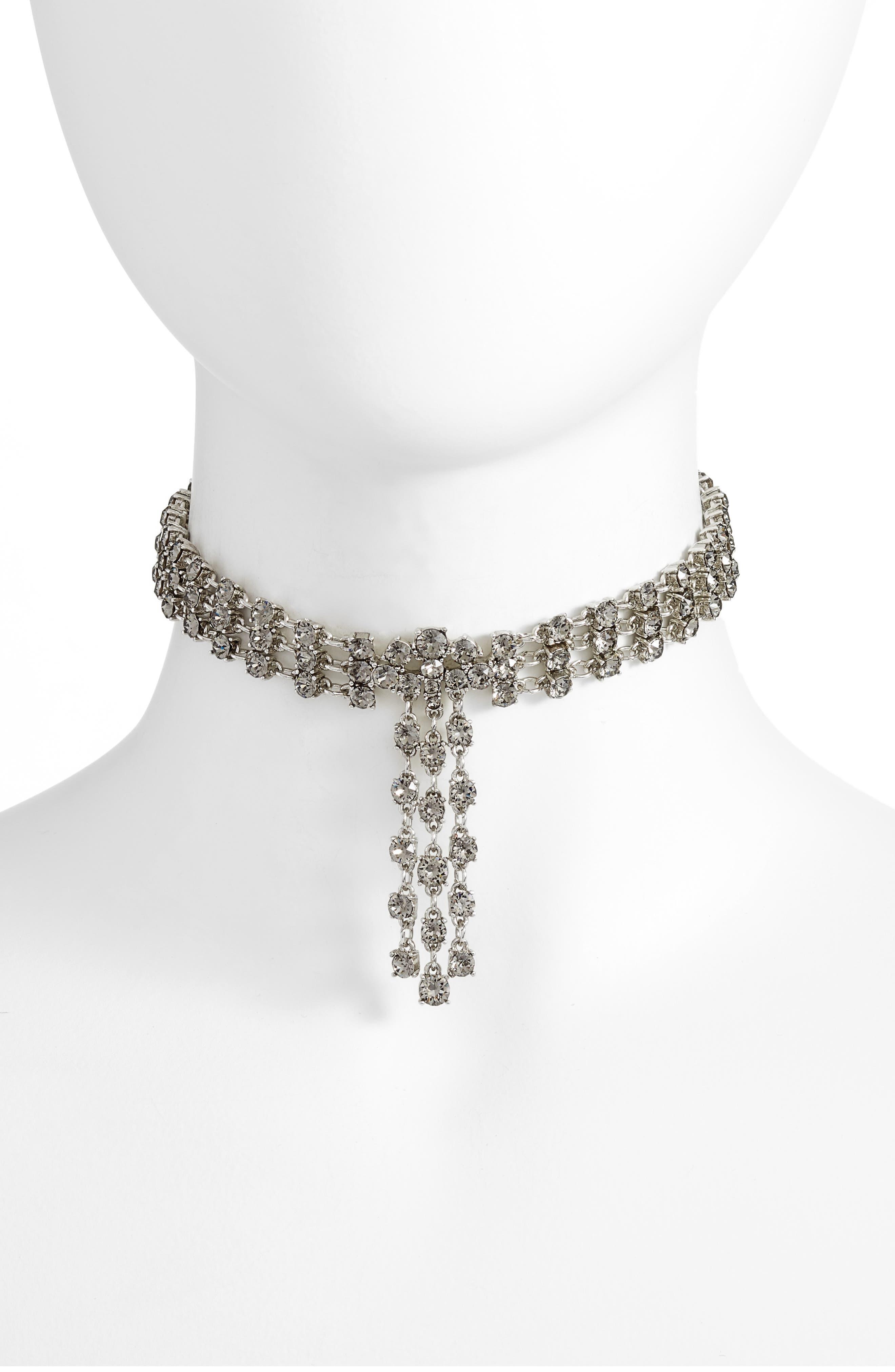 Oscar de la Renta Crystal Tassel Choker Necklace