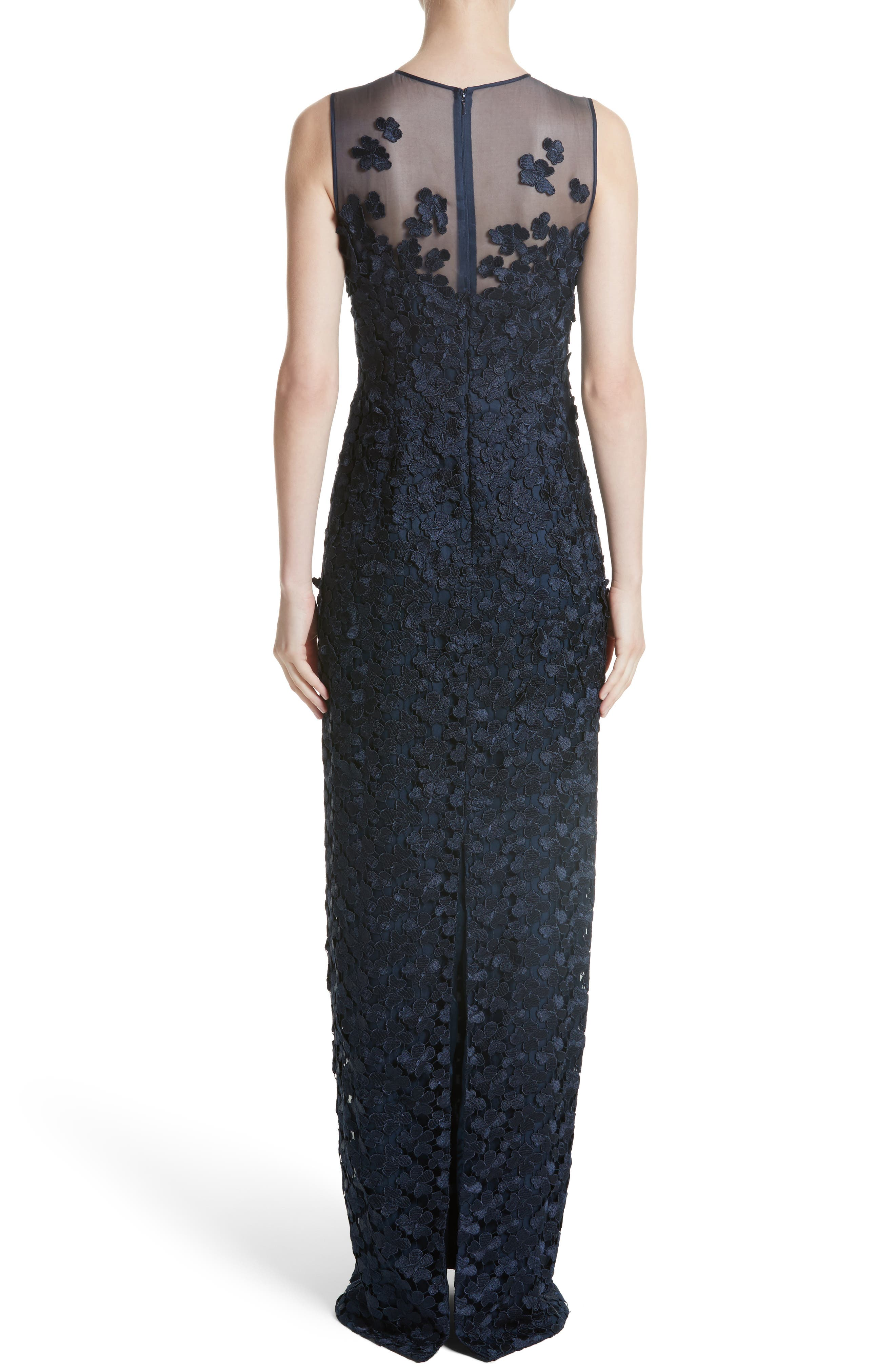Alternate Image 2  - Carmen Marc Valvo Floral Lace Column Gown